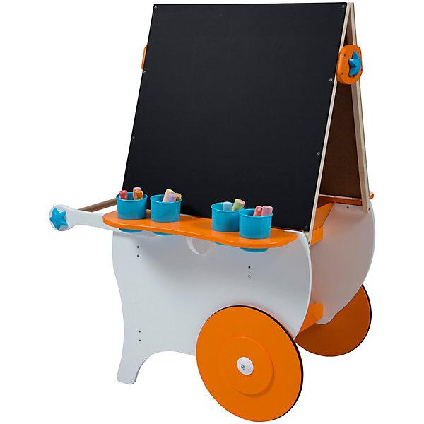 Центр для творчества Художники на колесах, ALEXКоврики и доски для рисования<br>Большой центр для детского творчества - эта целая мастерская по воплощению самых невероятных сюжетов и фантазий! Двухсторонний мольберт с магнитной стороной и поверхностью для рисования мелом позволит вашему ребенку полностью выразить себя в изобразительном искусстве. Две объемные внутренние полки для хранения принадлежностей позволят разместить все нужные инструменты. Большие ножки надежно обеспечат устойчивость, с помощью удобной ручки ребенок сможет сам перекатывать центр. Центр имеет два больших колеса, благодаря которым ребенок сможет с лёгкостью перемещать его, куда угодно. <br><br>Дополнительная информация:<br><br>- Материал: дерево, пластик. <br>- Комплектация: центр на колесах, 4 емкости под инструменты. <br>- Размер в собранном виде: 78х111х74 см.<br>- Колеса с резиновыми вставками не царапают пол. <br><br>Центр для творчества Художники на колесах ALEX, можно купить в нашем магазине.<br><br>Ширина мм: 58<br>Глубина мм: 15<br>Высота мм: 84<br>Вес г: 17690<br>Возраст от месяцев: 36<br>Возраст до месяцев: 84<br>Пол: Унисекс<br>Возраст: Детский<br>SKU: 4347886