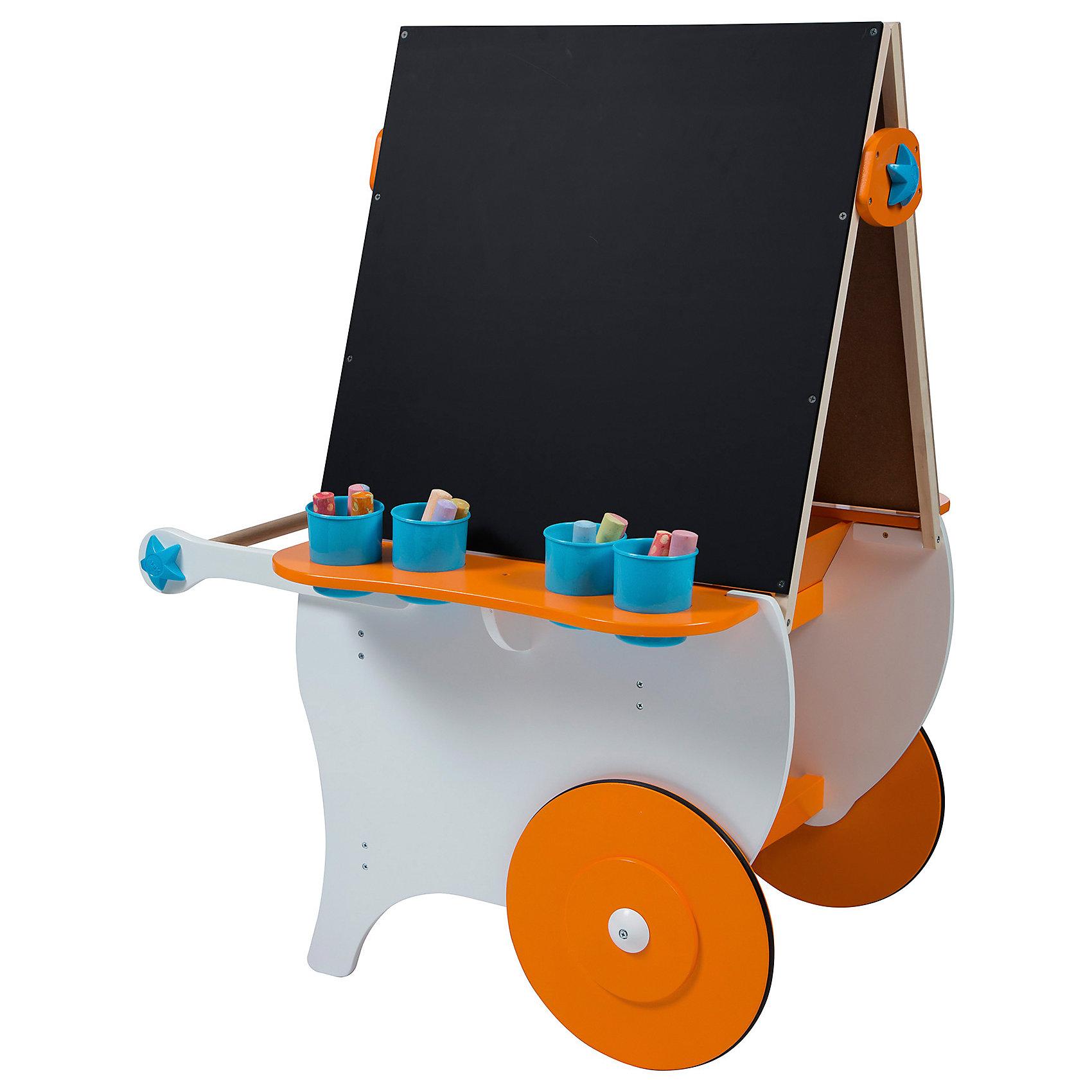 Центр для творчества Художники на колесах, ALEXБольшой центр для детского творчества - эта целая мастерская по воплощению самых невероятных сюжетов и фантазий! Двухсторонний мольберт с магнитной стороной и поверхностью для рисования мелом позволит вашему ребенку полностью выразить себя в изобразительном искусстве. Две объемные внутренние полки для хранения принадлежностей позволят разместить все нужные инструменты. Большие ножки надежно обеспечат устойчивость, с помощью удобной ручки ребенок сможет сам перекатывать центр. Центр имеет два больших колеса, благодаря которым ребенок сможет с лёгкостью перемещать его, куда угодно. <br><br>Дополнительная информация:<br><br>- Материал: дерево, пластик. <br>- Комплектация: центр на колесах, 4 емкости под инструменты. <br>- Размер в собранном виде: 78х111х74 см.<br>- Колеса с резиновыми вставками не царапают пол. <br><br>Центр для творчества Художники на колесах ALEX, можно купить в нашем магазине.<br><br>Ширина мм: 58<br>Глубина мм: 15<br>Высота мм: 84<br>Вес г: 17690<br>Возраст от месяцев: 36<br>Возраст до месяцев: 84<br>Пол: Унисекс<br>Возраст: Детский<br>SKU: 4347886