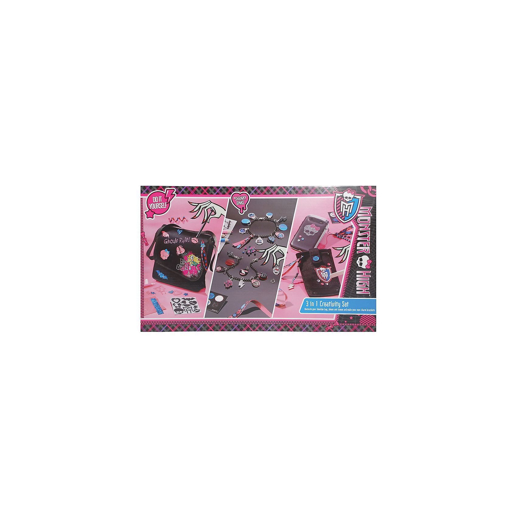 TOTUM Набор для творчества 3 в 1, Monster High детские наклейки монстер хай monster high альбом наклеек