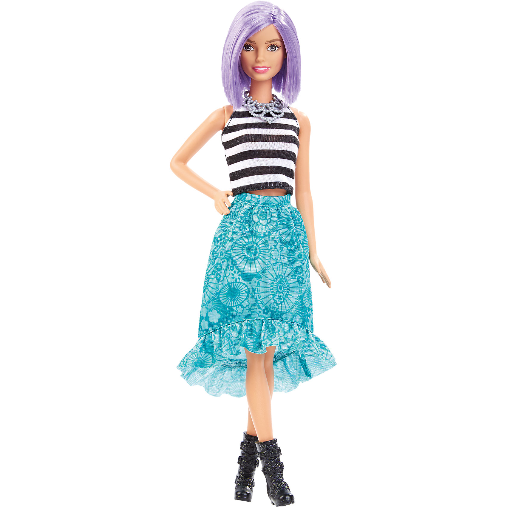 Кукла  Игра с модой, BarbieБренды кукол<br>Кукла Игра с модой, Barbie, порадует всех юных любительниц Барби и станет достойным пополнением их коллекции. Красавица Барби представлена в новом модном образе. У куклы блестящие сиреневые волосы, уложенные в стильную прическу. Их можно расчесывать и заплетать в различные хвостики и косички. Барби одета в черно-белый полосатый топ и голубую юбку с модным принтом и оборочкой. Ее оригинальный наряд эффектно дополняют черные сапожки и серебристое ожерелье. Руки и ноги куклы подвижные. Игрушка оформлена в яркую подарочную коробку.<br><br>Дополнительная информация:<br><br>- Материал: пластик, текстиль.<br>- Высота куклы: 29 см.<br>- Размер упаковки: 33 х 16 х 6 см.<br>- Вес: 0,3 кг.<br><br>Куклу Игра с модой, Barbie, можно купить в нашем интернет-магазине.<br><br>Ширина мм: 331<br>Глубина мм: 126<br>Высота мм: 60<br>Вес г: 181<br>Возраст от месяцев: 36<br>Возраст до месяцев: 72<br>Пол: Женский<br>Возраст: Детский<br>SKU: 4349894