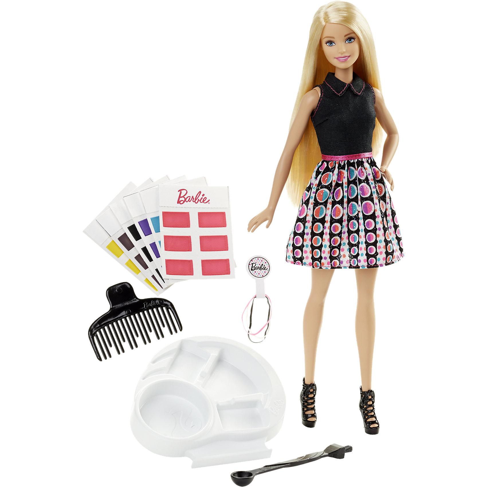 Кукла Игра с цветом, BarbieПочувствуй себя настоящим модным стилистом! Крась волосы любимой куклы в разные цвета! Экспериментирую с образами и оттенками. В наборе есть 36 карточек с красками различных цветов, налей воды специальной ложечкой, размешай краски кисточкой (на другом конце ложечки) и этой же кисточкой нанеси на волосы Барби. Чтобы поменять цвет, просто смой краску водой и расчеши волосы! Смешивай краски и получай свои невероятные оттенки; с помощью резинок для волос создавай различные прически.   <br><br>Дополнительная информация:<br><br>- Материал: пластик, текстиль.<br>- Размер куклы: 29 см.<br>- Комплектация: кукла Барби (черная майка, юбка с принтом, розовый пояс, черные туфли), 36 карточек с краской, палитра, ложка-кисточка, расческа и три резинки.<br>- Голова, руки, ноги куклы подвижные.<br><br>Куклу Игра с цветом, Barbie (Барби), можно купить в нашем магазине.<br><br>Ширина мм: 324<br>Глубина мм: 241<br>Высота мм: 53<br>Вес г: 317<br>Возраст от месяцев: 60<br>Возраст до месяцев: 96<br>Пол: Женский<br>Возраст: Детский<br>SKU: 4349908