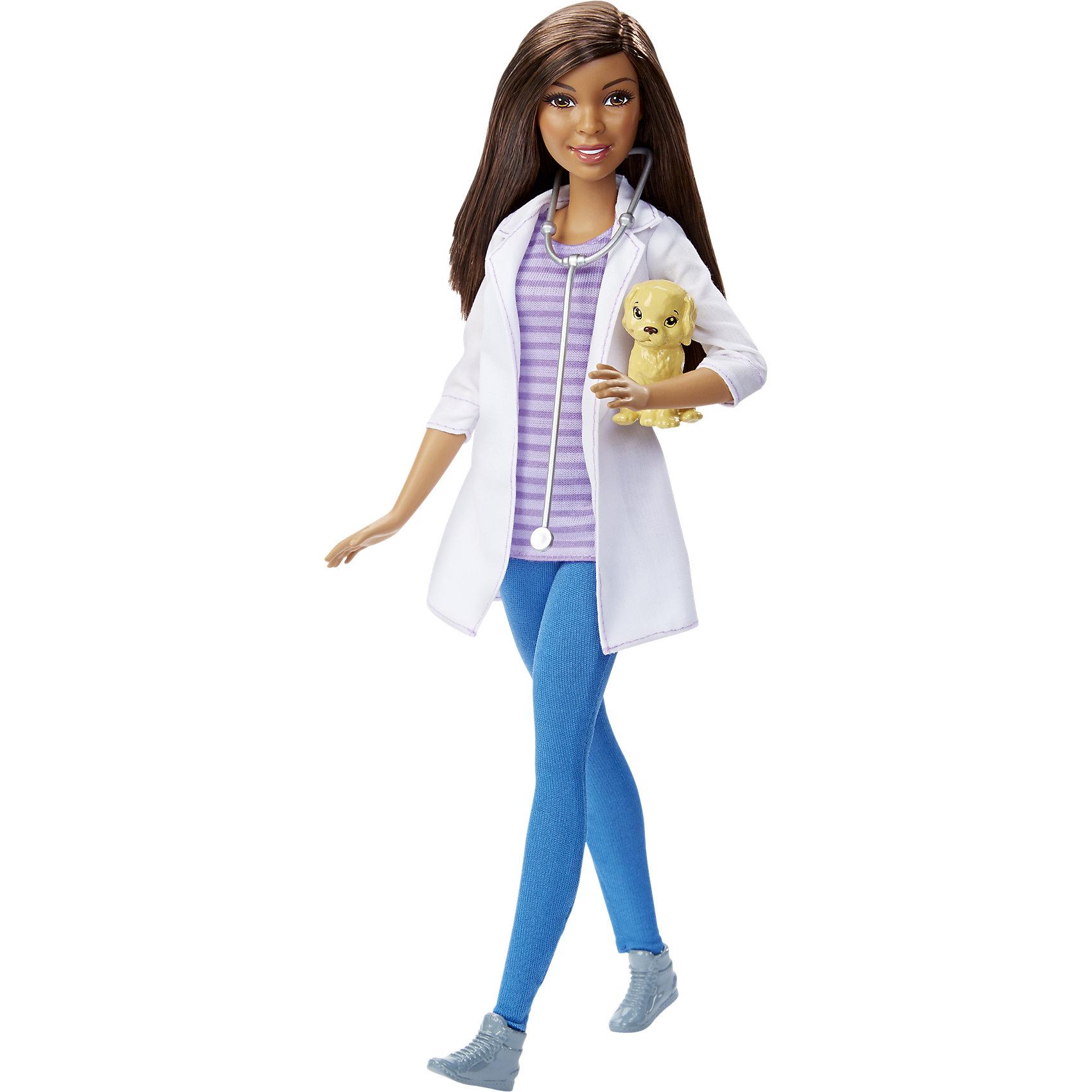 Кукла Barbie Ветеринар из серии Кем быть?<br><br>Ширина мм: 337<br>Глубина мм: 129<br>Высота мм: 60<br>Вес г: 201<br>Возраст от месяцев: 36<br>Возраст до месяцев: 72<br>Пол: Женский<br>Возраст: Детский<br>SKU: 4349921