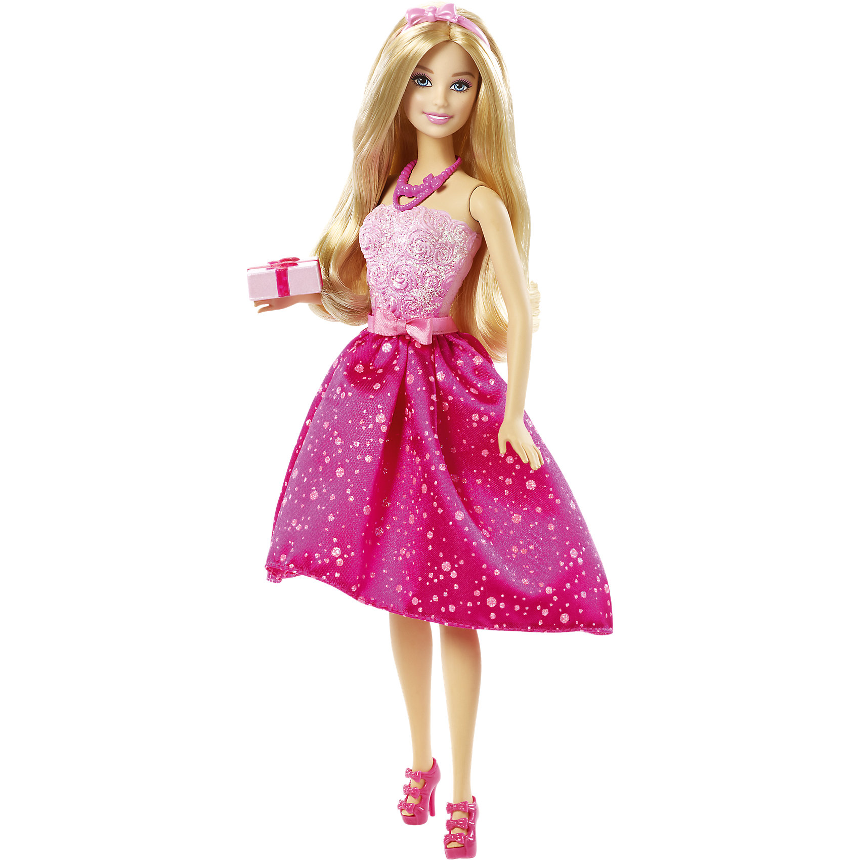 Кукла Barbie Happy BirthdayBarbie Игрушки<br>Характеристики куклы Барби:<br><br>• высота куклы – 29 см;<br>• шарнирные руки куклы, поднимаются вверх и в стороны, в локтях не сгибаются;<br>• ножки красавицы поднимаются и опускаются, Барби может занимать сидячую позу;<br>• голова куклы поворачивается;<br>• нейлоновые волосы куколки легко расчесываются, не путаются;<br>• наряд куклы Барби выполнен из полиэстера.<br><br>Любимица девочек, кукла Barbie собирается на день рождения! Яркий наряд красавицы, струящиеся золотистые волосы распущены, в руках подарок в подарочной упаковке. Обута Барби в босоножки. На головке ободок с бантиком, на шее – бусы. Аксессуары и одежда снимаются. <br><br>Комплектация игрового набора Mattel:<br><br>• кукла Барби;<br>• платье, босоножки;<br>• ободок, бусы;<br>• подарок.<br><br>Куклу Barbie Happy Birthday можно купить в нашем интернет-магазине.<br><br>Ширина мм: 330<br>Глубина мм: 165<br>Высота мм: 66<br>Вес г: 247<br>Возраст от месяцев: 36<br>Возраст до месяцев: 72<br>Пол: Женский<br>Возраст: Детский<br>SKU: 4349925
