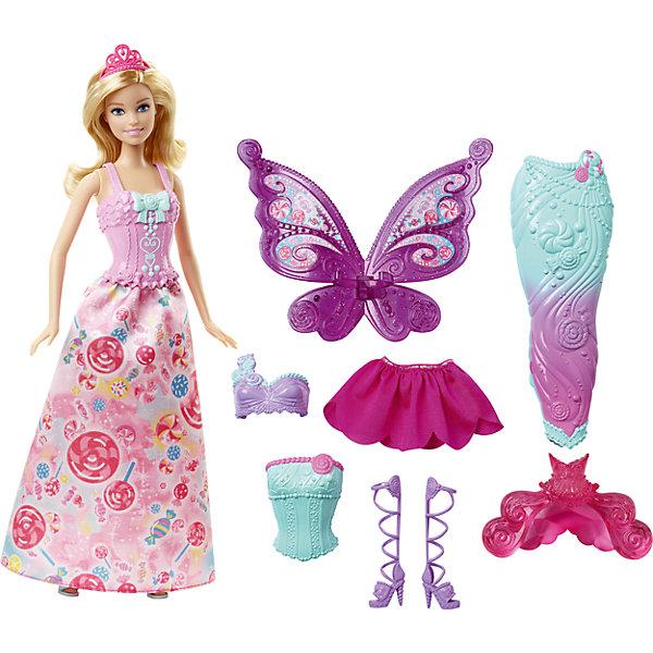 Кукла Barbie Сказочная принцессаBarbie<br>Кукла Barbie (Барби) Сказочная принцесса<br><br>Кукла Barbie (Барби) Сказочная принцесса приведет в восторг современную девочку. Ее можно не просто переодевать - в наборе есть и хвост русалки, и наряд феи! И кукла, и аксессуары выполнены в соответствии с высокими стандартами качества Mattel.<br>Набор изготовлен из высококачественных, легких и безопасных для детей материалов.  В комплект входит сама кукла, три корсета, две юбки, крылья феи, хвост русалки, две пары обуви и одна тиара.<br><br>Дополнительная информация:<br><br>цвет: разноцветный;<br>комплектация:  кукла, 3 корсета, 2 юбки, крылья феи, хвост русалки, 2 пары обуви, 1 тиара.<br>материал: пластик, текстиль;<br>высота куклы: 29 см.<br><br>Кукла Barbie (Барби) Сказочная принцесса можно купить в нашем магазине.<br><br>Ширина мм: 326<br>Глубина мм: 330<br>Высота мм: 60<br>Вес г: 382<br>Возраст от месяцев: 36<br>Возраст до месяцев: 72<br>Пол: Женский<br>Возраст: Детский<br>SKU: 4349927