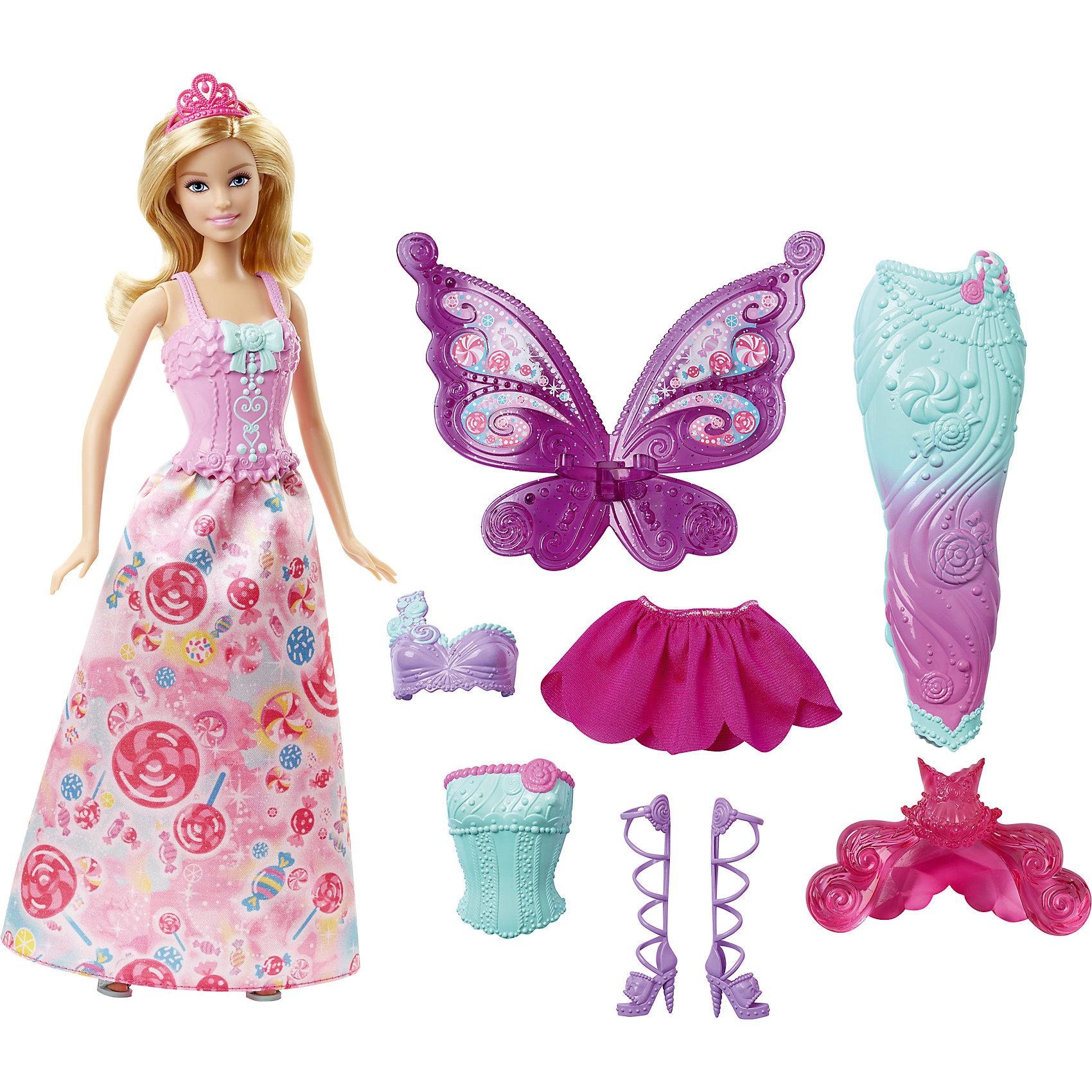 Кукла Barbie Сказочная принцессаПопулярные игрушки<br>Кукла Barbie (Барби) Сказочная принцесса<br><br>Кукла Barbie (Барби) Сказочная принцесса приведет в восторг современную девочку. Ее можно не просто переодевать - в наборе есть и хвост русалки, и наряд феи! И кукла, и аксессуары выполнены в соответствии с высокими стандартами качества Mattel.<br>Набор изготовлен из высококачественных, легких и безопасных для детей материалов.  В комплект входит сама кукла, три корсета, две юбки, крылья феи, хвост русалки, две пары обуви и одна тиара.<br><br>Дополнительная информация:<br><br>цвет: разноцветный;<br>комплектация:  кукла, 3 корсета, 2 юбки, крылья феи, хвост русалки, 2 пары обуви, 1 тиара.<br>материал: пластик, текстиль;<br>высота куклы: 29 см.<br><br>Кукла Barbie (Барби) Сказочная принцесса можно купить в нашем магазине.<br><br>Ширина мм: 326<br>Глубина мм: 329<br>Высота мм: 64<br>Вес г: 378<br>Возраст от месяцев: 36<br>Возраст до месяцев: 72<br>Пол: Женский<br>Возраст: Детский<br>SKU: 4349927