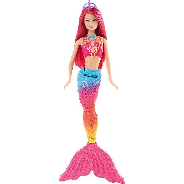 Кукла Rainbow Радужная русалочка, BarbieКуклы<br>Кукла Rainbow из серии Радужная русалочка похожа на настоящую русалку, вышедшую из моря. Длинные яркие волосы можно уложить в красивую прическу, украшенную диадемой. Кукла одета в розовый топ, хвостик радужной расцветки. Руки и хвостик подвижные, что поможет принять русалке нужную позу для сюжетно-ролевых игр. Девочка с удовольствием поиграет с подружками с этой куклой!<br><br>Дополнительная информация:<br>Материал: пластик<br>Высота куклы: 34,5 см<br>Вес: 215 грамм<br>Куклу Rainbow, Barbie можно купить в нашем интернет-магазине.<br>Ширина мм: 323; Глубина мм: 114; Высота мм: 45; Вес г: 203; Возраст от месяцев: 36; Возраст до месяцев: 72; Пол: Женский; Возраст: Детский; SKU: 4349930;