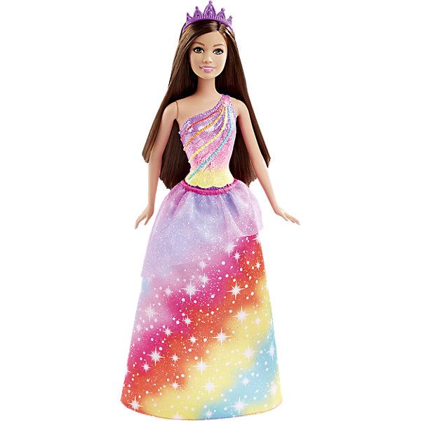 Кукла Принцесса в цветном, BarbieПопулярные игрушки<br>Новая кукла Barbie Принцесса в цветном очарует девочек всех возрастов. На этот раз красавица Барби представлена в образе принцессы радужного королевства. У нее длинные каштановые волосы, которые можно укладывать в разнообразные прически. Чудесный наряд состоит из сиреневого топа, украшенного радужным бисером и юбочки с радужным цветным рисунком и прозрачной кокеткой. Волшебный образ дополняют фиолетовые туфельки на каблуках и красивая диадема. Тело куколки на шарнирах, ноги и руки сгибаются и разгибаются, благодаря чему она может принимать различные положения. Одежда и аксессуары подходят всем куклам-принцессам, русалкам и феям Barbie (продаются отдельно). <br><br>Дополнительная информация:<br><br>- Материал: пластик, текстиль.<br>- Высота куклы: 29 см.<br>- Размер упаковки: 32 x 13 x 6 см.<br>- Вес: 0,175 кг.<br><br>Куклу Принцесса в цветном, Barbie, Mattel, можно купить в нашем интернет-магазине.<br><br>Ширина мм: 321<br>Глубина мм: 116<br>Высота мм: 55<br>Вес г: 171<br>Возраст от месяцев: 36<br>Возраст до месяцев: 72<br>Пол: Женский<br>Возраст: Детский<br>SKU: 4349932