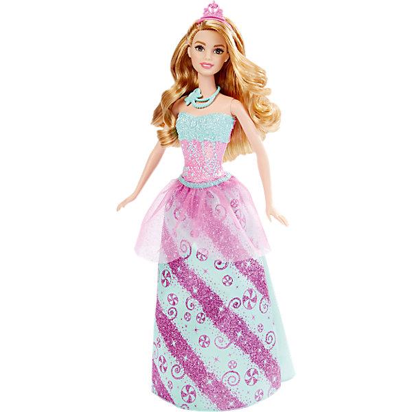 Кукла Принцесса в голубом, BarbieКуклы<br>Новая кукла Barbie Принцесса в голубом очарует девочек всех возрастов. На этот раз красавица Барби представлена в образе принцессы сказочного конфетного королевства. У нее длинные светлые волосы, которые можно укладывать в разнообразные прически. Чудесный наряд состоит из пластикового розово-бирюзового топа и съемной бирюзовой юбочки с конфетным рисунком и прозрачной розовой кокеткой. Волшебный образ дополняют туфельки на каблуках в тон юбки, украшение на шее и красивая диадема. Тело куколки на шарнирах, ноги и руки сгибаются и разгибаются, благодаря чему она может принимать различные положения. Одежда и аксессуары подходят всем куклам-принцессам, русалкам и феям Barbie (продаются отдельно). <br><br>Дополнительная информация:<br><br>- Материал: пластик, текстиль.<br>- Высота куклы: 29 см.<br>- Размер упаковки: 32 x 13 x 6 см.<br>- Вес: 0,175 кг.<br><br>Куклу Принцесса в голубом, Barbie, Mattel, можно купить в нашем интернет-магазине.<br><br>Ширина мм: 323<br>Глубина мм: 126<br>Высота мм: 43<br>Вес г: 184<br>Возраст от месяцев: 36<br>Возраст до месяцев: 72<br>Пол: Женский<br>Возраст: Детский<br>SKU: 4349934