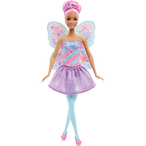 Конфетная кукла-фея Sweet, BarbieКуклы<br>Очаровательная конфетная кукла-фея Sweet станет прекрасным подарком для девочки. Кукла одета в красивое платье с нежной расцветкой и подолом с блестками, волосы уложены в прическу с ободком. Все конечности подвижны, что позволит посадить куклу в подходящую для игры позу. Милые крылышки феи помогут девочке окунуться в мир волшебства вместе с Barbie.<br><br>Дополнительная информация:<br>Материал: пластик<br>Вес: 175 грамм<br>Конфетную куклу-фею Sweet можно приобрести в нашем интернет-магазине.<br><br>Ширина мм: 325<br>Глубина мм: 126<br>Высота мм: 46<br>Вес г: 177<br>Возраст от месяцев: 36<br>Возраст до месяцев: 72<br>Пол: Женский<br>Возраст: Детский<br>SKU: 4349936