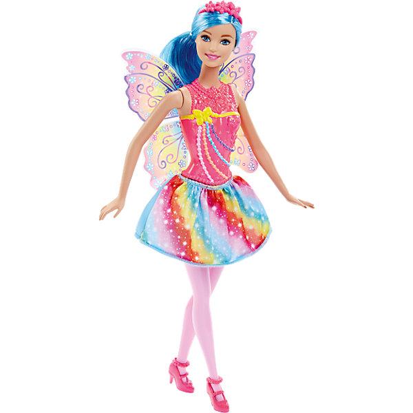 Радужная кукла-фея Rainbow, BarbieBarbie<br>Характеристики:<br><br>• возраст: от 3 лет;<br>• материал: пластик, текстиль;<br>• высота куклы: 29 см;<br>• вес упаковки: 300 гр.;<br>• размер упаковки: 32х6х13 см;<br>• страна бренда: США.<br><br>«Радужная кукла-фея Rainbow» Barbie одета в цветную юбочку, на теле очаровательный корсет из пластика, а за спиной волшебные крылышки. На голове у куклы красуется ободок поверх собранных в хвост голубых волос. Части тела феи подвижны. Игрушка выполнена из безопасных материалов, понравится юным поклоницам сказочных созданий.<br><br>Куклу «Радужная кукла-фея Rainbow», Barbie можно купить в нашем интернет-магазине.<br>Ширина мм: 322; Глубина мм: 116; Высота мм: 48; Вес г: 160; Возраст от месяцев: 36; Возраст до месяцев: 72; Пол: Женский; Возраст: Детский; SKU: 4349937;