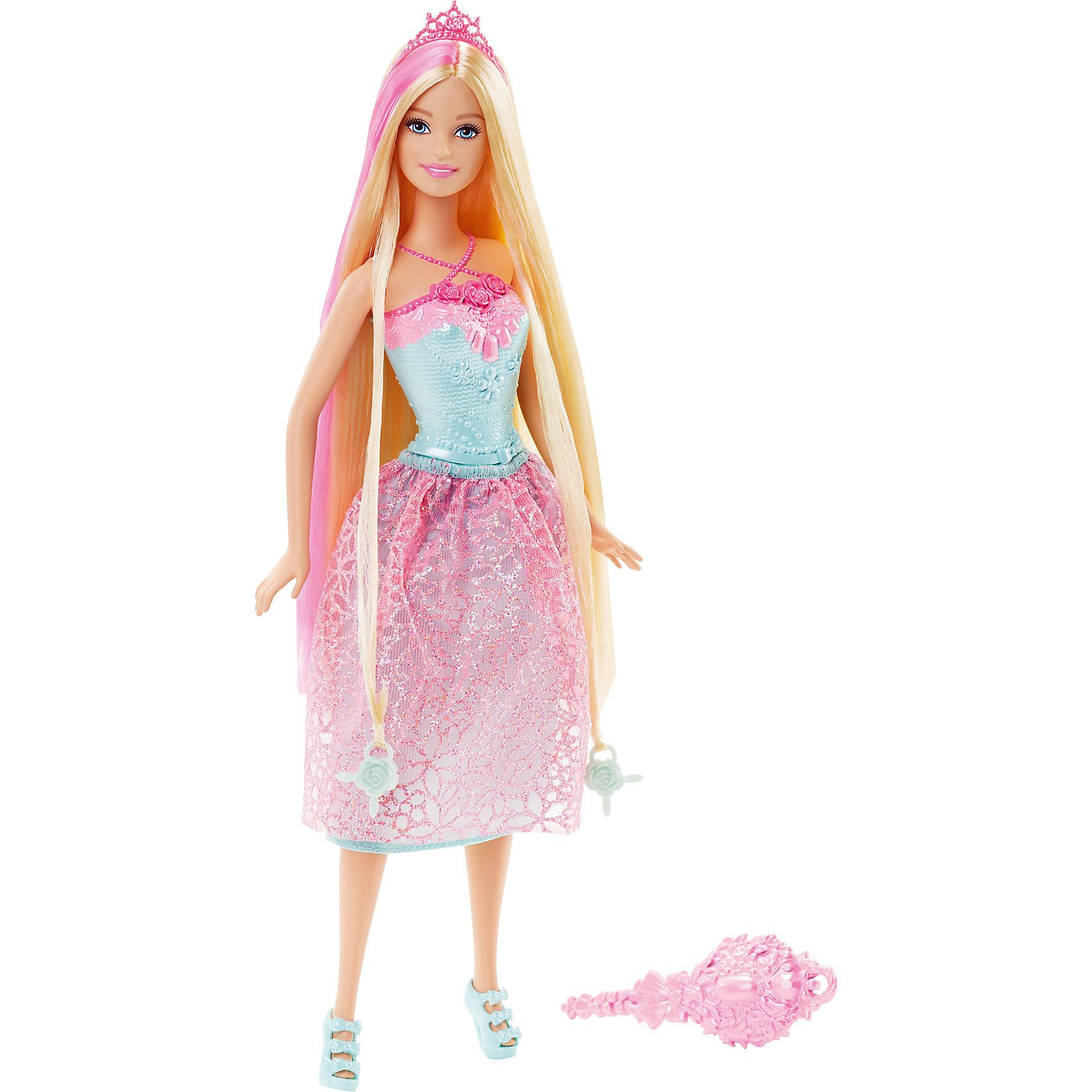 Кукла Принцесса, блондинка, BarbieBarbie<br>Кукла Принцесса, блондинка, Barbie, порадует всех юных любительниц Барби и станет достойным пополнением их коллекции. На этот раз красавица Барби представлена в образе очаровательной принцессы в роскошном наряде. У куколки длинные светлые локоны длиной 20 см. с розовыми прядками, которые можно укладывать в разнообразные прически. Чудесное платье с розовой юбкой в цветочек и бирюзовым лифом декорировано пояском и нарядной вышивкой. Стильный образ дополняют изящные бирюзовые босоножки в тон лифа и красивая розовая диадема. Тело куколки на шарнирах, ноги и руки сгибаются и разгибаются, благодаря чему она может принимать различные положения. В комплект также входит расческа и два украшения-бусинки для волос, подходящие к парикмахерским инструментам Barbie из набора Barbie Snapn Style Princess Doll (продается отдельно).<br><br>Дополнительная информация:<br><br>- Материал: пластик, текстиль.<br>- Высота куклы: 29 см.<br>- Размер упаковки: 12,7 x 6 x 32,4 см.<br>- Вес: 0,24 кг.<br><br>Куклу Принцесса, блондинка, Barbie, Mattel, можно купить в нашем интернет-магазине.<br><br>Ширина мм: 324<br>Глубина мм: 119<br>Высота мм: 55<br>Вес г: 176<br>Возраст от месяцев: 36<br>Возраст до месяцев: 72<br>Пол: Женский<br>Возраст: Детский<br>SKU: 4349939