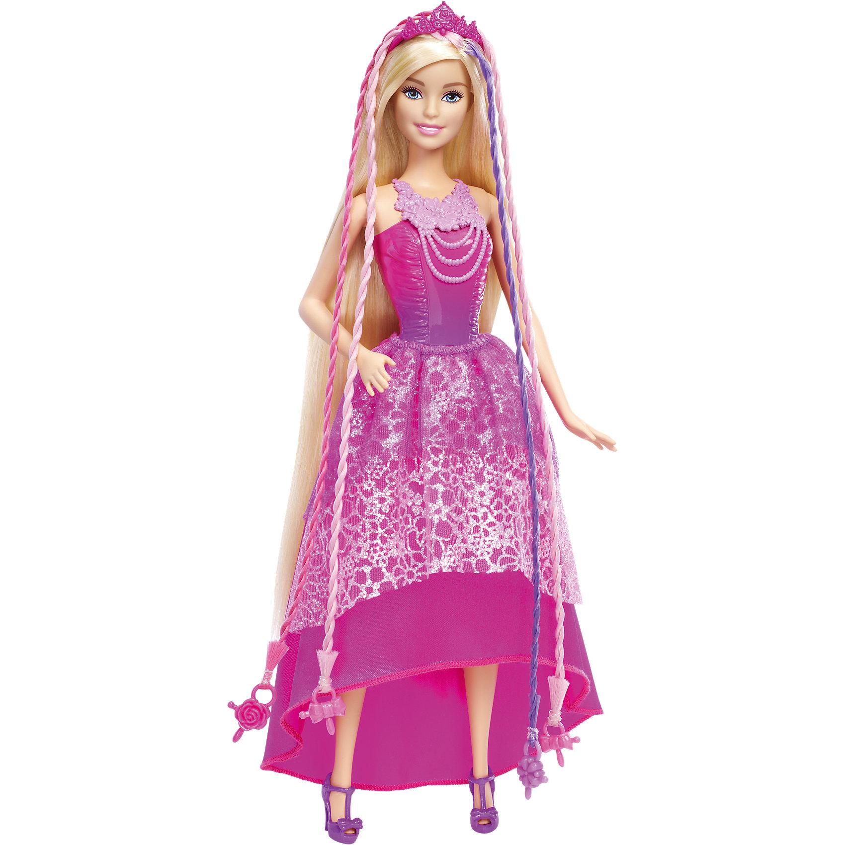 Кукла-принцесса с волшебными волосами, BarbieBarbie<br>Кукла-принцесса с волшебными волосами, Barbie, порадует всех юных любительниц Барби и станет достойным пополнением их коллекции. На этот раз красавица Барби представлена в образе очаровательной принцессы в роскошном наряде. У куколки чудесное розовое платье, украшенное блестками, с двухслойной юбкой и обтягивающим лифом. Роскошный наряд красиво дополняют сиреневые туфельки на каблуках и изысканное розовое ожерелье. Туловище куклы на шарнирах, ноги и руки сгибаются и разгибаются, благодаря чему она может принимать различные положения. Но главная особенность новой Барби-принцессы - ее роскошные светлые волосы длиной 20 см., которые так интересно укладывать в различные прически, расчесывать и украшать. В комплекте Вы найдете полный арсенал парикмахерских инструментов, чтобы почувствовать себя в роли модного стилиста - специальный инструмент для плетения, щетка для волос, диадема и три заколки. Розовые и сиреневые пряди волос Барби украшены на концах яркими бусинами. Вставьте две или три бусины в устройство для плетения, нажмите кнопку - и прядки будут мгновенно заплетены! А красивые заколки, украшенные фирменной символикой подойдут не только кукле, но и хозяйке.<br><br>Дополнительная информация:<br><br>- В комплекте: кукла, инструмент для плетения волос, щетка для волос, диадема, 3 заколки.<br>- Материал: пластик, текстиль.<br>- Высота куклы: 29 см.<br>- Размер упаковки: 8 x 33 х 26 см.<br>- Вес: 0,4 кг.<br><br>Куклу-принцессу с волшебными волосами, Barbie, Mattel, можно купить в нашем интернет-магазине.<br><br>Ширина мм: 326<br>Глубина мм: 254<br>Высота мм: 73<br>Вес г: 407<br>Возраст от месяцев: 36<br>Возраст до месяцев: 72<br>Пол: Женский<br>Возраст: Детский<br>SKU: 4349941