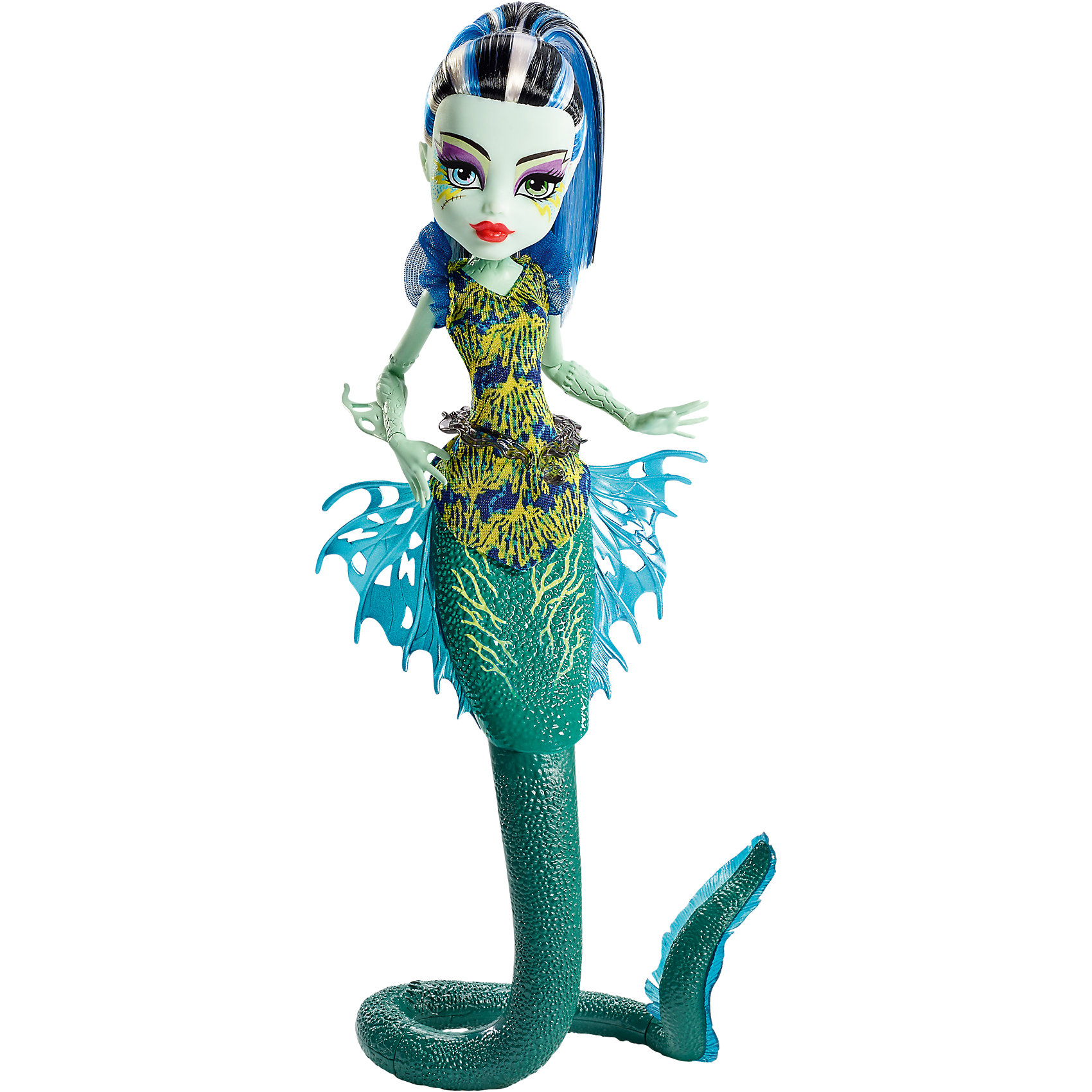 Кукла Френки Штейн Большой Кошмарный Риф, Monster HighПопулярные игрушки<br>Кукла Френки Штейн Большой Кошмарный Риф, Monster High (Монстер Хай) - жутковатая но симпатичная девочка-монстр, дочь профессора Франкенштейна из популярного мультсериала Школа монстров. Вместе с другими детьми знаменитых монстров она учится в Школе монстров, где каждый из учеников отличается своими уникальными особенностями и способностями. У Фрэнки длинные черно-белые волосы с синими прядками, уложенные в хвост, бледно-зеленая кожа и разноцветные глаза: голубой и зеленый, пара шрамов дополняют образ очаровательного монстрика. <br>В новой линейке кукол Большой Кошмарный Риф (Great Scarrier Reef) популярные подружки-монстры представлены в виде причудливых морских обитателей и обладают чудесной особенностью - деталями, которые светятся в темноте! Это позволяет им не потеряться в темных глубинах океана. Френки Штейн (Frankie Stein) смотрится очень эффектно в образе электрического угря с длинным зелеными хвостом и красивыми ажурными плавниками, которые позволяют ей легко перемещаться под водой. Она одета в стильное платье без рукавов с оригинальным поясом в виде водяной змеи. Тело куколки на шарнирах, ноги и хвост сгибаются и разгибаются, благодаря чему она может принимать различные положения. В комплект также входит подставка для куклы.<br><br>Дополнительная информация:<br><br>- В комплекте: кукла, подставка.<br>- Материал: пластик, текстиль.<br>- Высота куклы: 27 см. <br>- Размер упаковки: 33 x 16 x 7 см.<br>- Вес: 0,24 кг.<br><br>Куклу Френки Штейн Большой Кошмарный Риф, Monster High, можно купить в нашем интернет-магазине.<br><br>Ширина мм: 331<br>Глубина мм: 157<br>Высота мм: 71<br>Вес г: 236<br>Возраст от месяцев: 72<br>Возраст до месяцев: 120<br>Пол: Женский<br>Возраст: Детский<br>SKU: 4349956