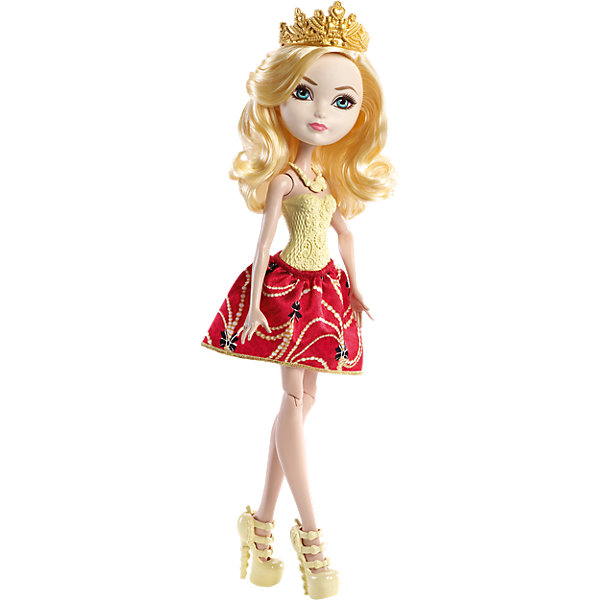 Кукла Эппл Уайт,  Ever After HighКуклы<br>Кукла Эппл Уайт, Ever After High, Mattel - оригинальная стильная кукла, которая порадует девочек любого возраста. В необычной школе Ever After High (Долго и счастливо) учатся дети известных сказочных персонажей, перед всеми из них стоит выбор - продолжить ли жизнь своих родителей или заниматься делом, которое им по душе. Таким образом, дети делятся на два лагеря Royal (наследники), которых устраивает привычная жизнь их родителей и Rebel (отступники), которые выбирают в жизни свой собственный путь. <br><br>Несмотря на все свои различия наследники и отступники хорошие друзья и любят проводить время вместе. Эппл Уайт (Apple White), дочь Белоснежки, продолжит дело своей матери, и, закончив школу, станет новой правительницей мира сказок. У куклы длинные светлые волосы, которые можно укладывать в различные прически и красивое личико. Красавица одета в роскошное платье с красной юбкой и обтягивающим лифом кремового цвета. Наряд дополняют изящные босоножки и ожерелье в тон платья и позолоченная диадема. Тело куколки на шарнирах, ноги и руки сгибаются и разгибаются, благодаря чему она может принимать различные положения. Кукла не может стоять самостоятельно.<br><br>Дополнительная информация:<br><br>- Материал: пластик, текстиль.<br>- Высота куклы: 30 см. <br>- Размер упаковки: 32,5 x 10 x 6 см.  <br>- Вес: 0,2 кг. <br><br>Куклу Эппл Уайт, Ever After High (Эвер Афтер Хай), Mattel, можно купить в нашем интернет-магазине.<br>Ширина мм: 330; Глубина мм: 109; Высота мм: 63; Вес г: 194; Возраст от месяцев: 72; Возраст до месяцев: 120; Пол: Женский; Возраст: Детский; SKU: 4349960;
