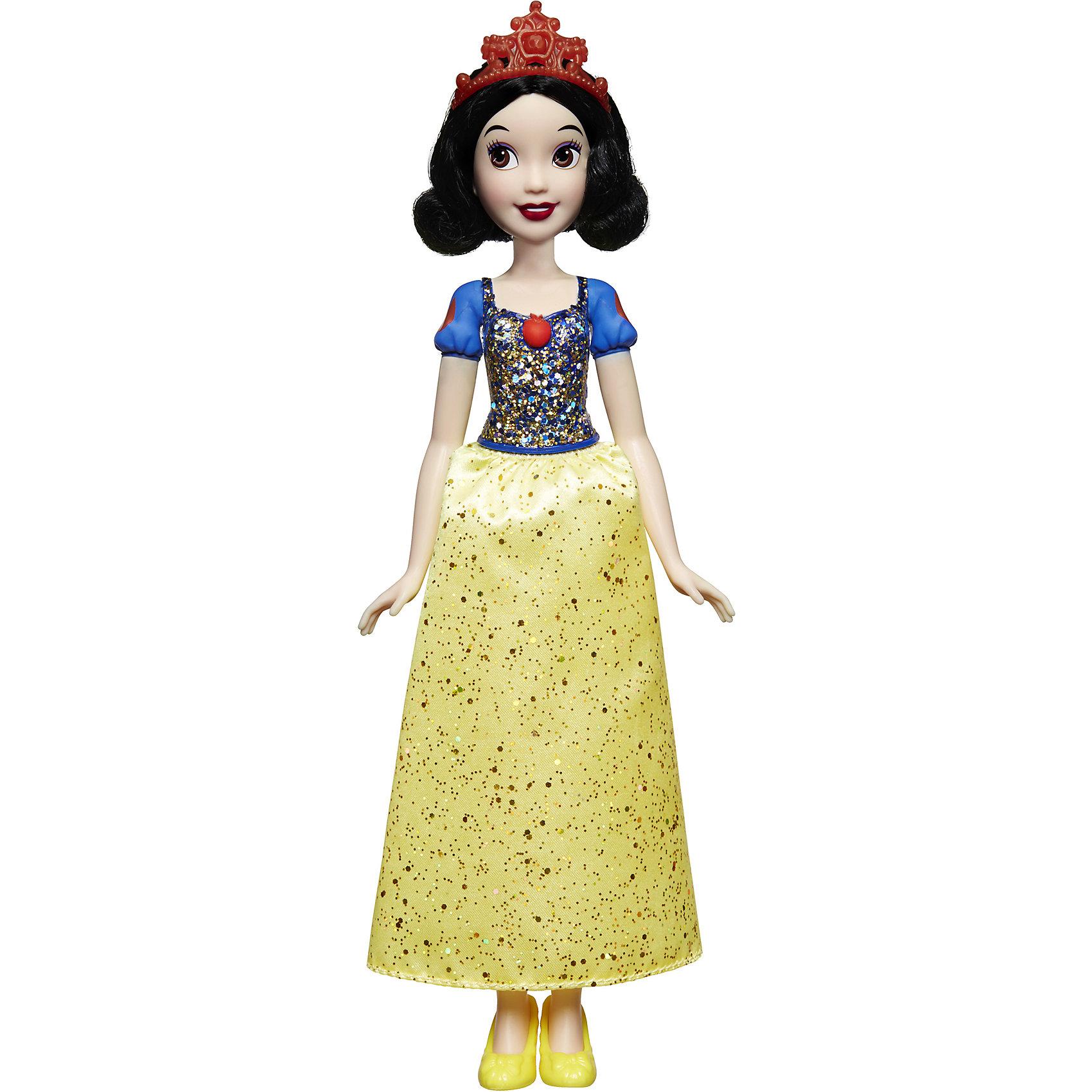 Кукла Белоснежка, Принцессы ДиснейПринцессы Игрушки<br>Кукла Белоснежка, Принцессы Дисней, станет прекрасным подарком для всех маленьких поклонниц диснеевских сказок. Кукла очень похожа на свою героиню из популярного мультфильма Белоснежка и семь гномов. Как и положено по сюжету, у куклы темные волосы до плеч и светлая кожа, красивое лицо украшено ярким макияжем. Белоснежка одета в нарядное платье принцессы: ярко-синий топ с рукавами-фонариками и роскошная желтая юбка с блестками и изысканными узорами. Наряд дополняют изящные желтые туфельки и красный ободок с бантиком в волосах. У куклы подвижные руки и ноги и голова.<br><br>Дополнительная информация:<br><br>- Материал: пластик, текстиль.<br>- Высота куклы: 28 см.<br>- Размер упаковки: 15 x 5 x 36 см.<br>- Вес: 0,17 кг.<br><br>Куклу Белоснежка, Принцессы Дисней, можно купить в нашем интернет-магазине.<br><br>Ширина мм: 324<br>Глубина мм: 154<br>Высота мм: 55<br>Вес г: 171<br>Возраст от месяцев: 36<br>Возраст до месяцев: 72<br>Пол: Женский<br>Возраст: Детский<br>SKU: 4351503