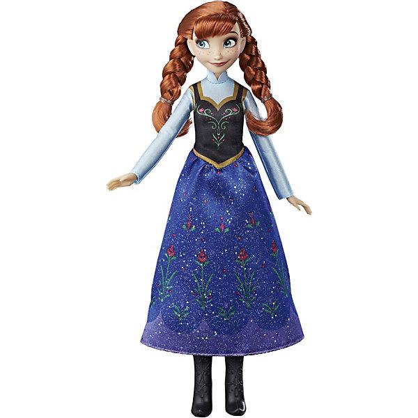 Кукла Анна, Холодное сердце, Принцессы ДиснейКуклы<br>Кукла Анна, Холодное сердце, Принцессы Дисней, станет приятным сюрпризом для всех поклонниц популярного диснеевского мультфильма Frozen. В красивой милой куколке Вы без труда узнаете Анну - одну из главных героинь сказочной истории. У Анны длинные рыжие волосы, заплетенные в косы. В волосах заметна белая прядь, оставшаяся еще с того момента, как в далеком детстве сестра Эльза случайно заморозила маленькую принцессу. Анна одета в знакомый всем поклонникам наряд: сарафан с черным лифом и длинной синей юбкой, украшенной блестками и цветочным принтом. На ножках принцессы высокие черные сапожки на каблуках. У игрушки подвижные руки, ноги и голова. Очаровательная кукла прекрасно дополнит коллекцию диснеевских принцесс.<br><br>Дополнительная информация:<br><br>- Материал: пластик, текстиль.<br>- Высота куклы: 28 см.<br>- Размер упаковки: 15 x 5 x 36 см.  <br>- Вес: 0,5 кг. <br><br>Куклу Анна, Холодное сердце, Принцессы Дисней, можно купить в нашем интернет-магазине.<br>Ширина мм: 324; Глубина мм: 152; Высота мм: 50; Вес г: 176; Возраст от месяцев: 36; Возраст до месяцев: 72; Пол: Женский; Возраст: Детский; SKU: 4351505;