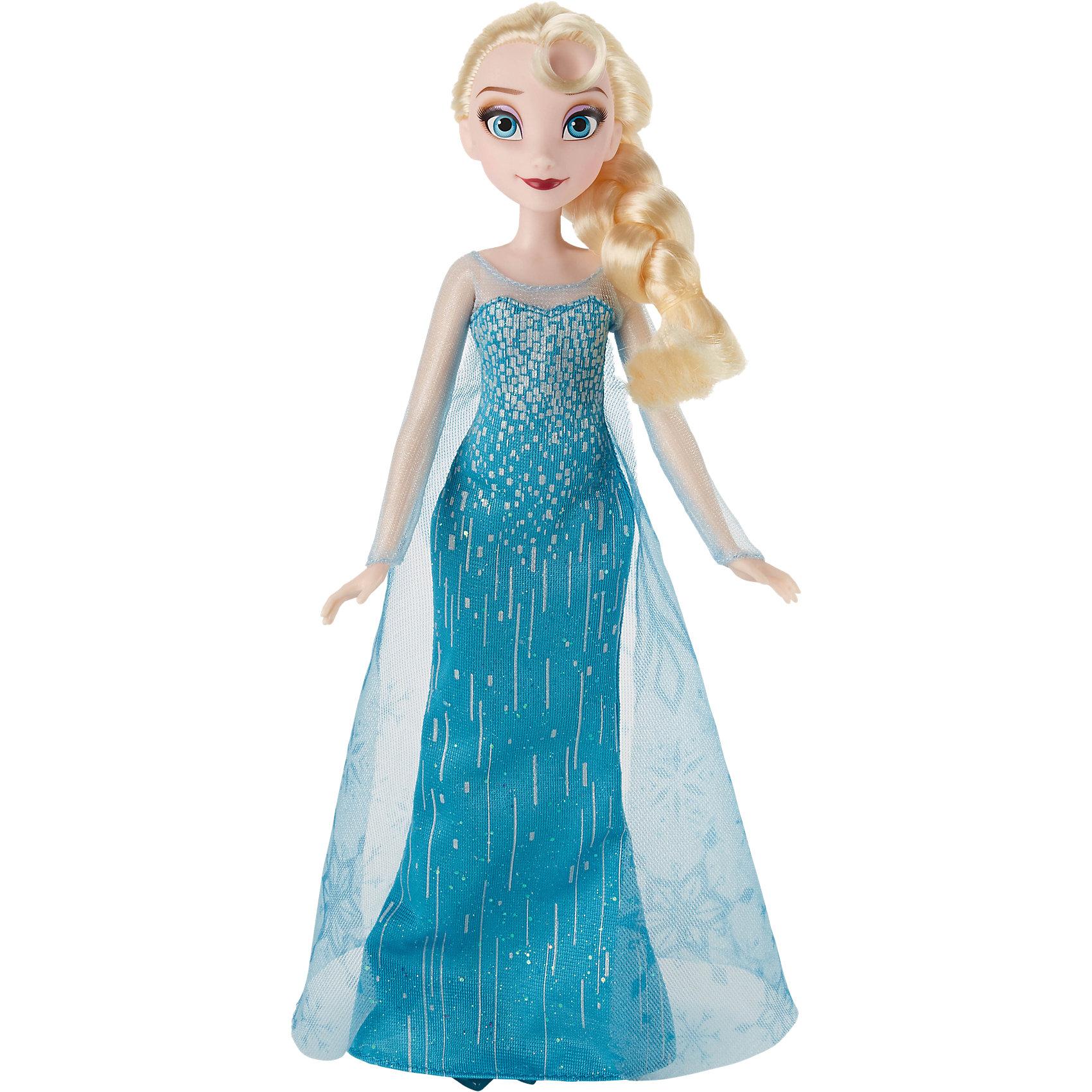 Кукла Эльза, Холодное сердце, Принцессы ДиснейКукла Эльза, Холодное сердце, Принцессы Дисней, станет прекрасным подарком для всех поклонниц популярного диснеевского мультфильма Frozen. Внешний вид куклы полностью соответствует своей героине из мультфильма. У Эльзы длинные светлые волосы, заплетенные в толстую косу, красивое лицо украшено ярким макияжем. Она одета в роскошное голубое платье в пол, украшенное блестками и мерцающими узорами. Сверху ее покрывает длинная полупрозрачная накидка с принтом в виде снежинок. Наряд дополняют изящные полупрозрачные туфельки в тон платья. У куклы подвижные руки, ноги и голова. Очаровательная кукла прекрасно дополнит коллекцию диснеевских принцесс.<br><br>Дополнительная информация:<br><br>- Материал: пластик, текстиль.<br>- Высота куклы: 28 см.<br>- Размер упаковки: 15 x 5 x 36 см.  <br>- Вес: 0,3 кг. <br><br>Куклу Эльза, Холодное сердце, Принцессы Дисней, можно купить в нашем интернет-магазине.<br><br>Ширина мм: 326<br>Глубина мм: 152<br>Высота мм: 53<br>Вес г: 188<br>Возраст от месяцев: 36<br>Возраст до месяцев: 72<br>Пол: Женский<br>Возраст: Детский<br>SKU: 4351506