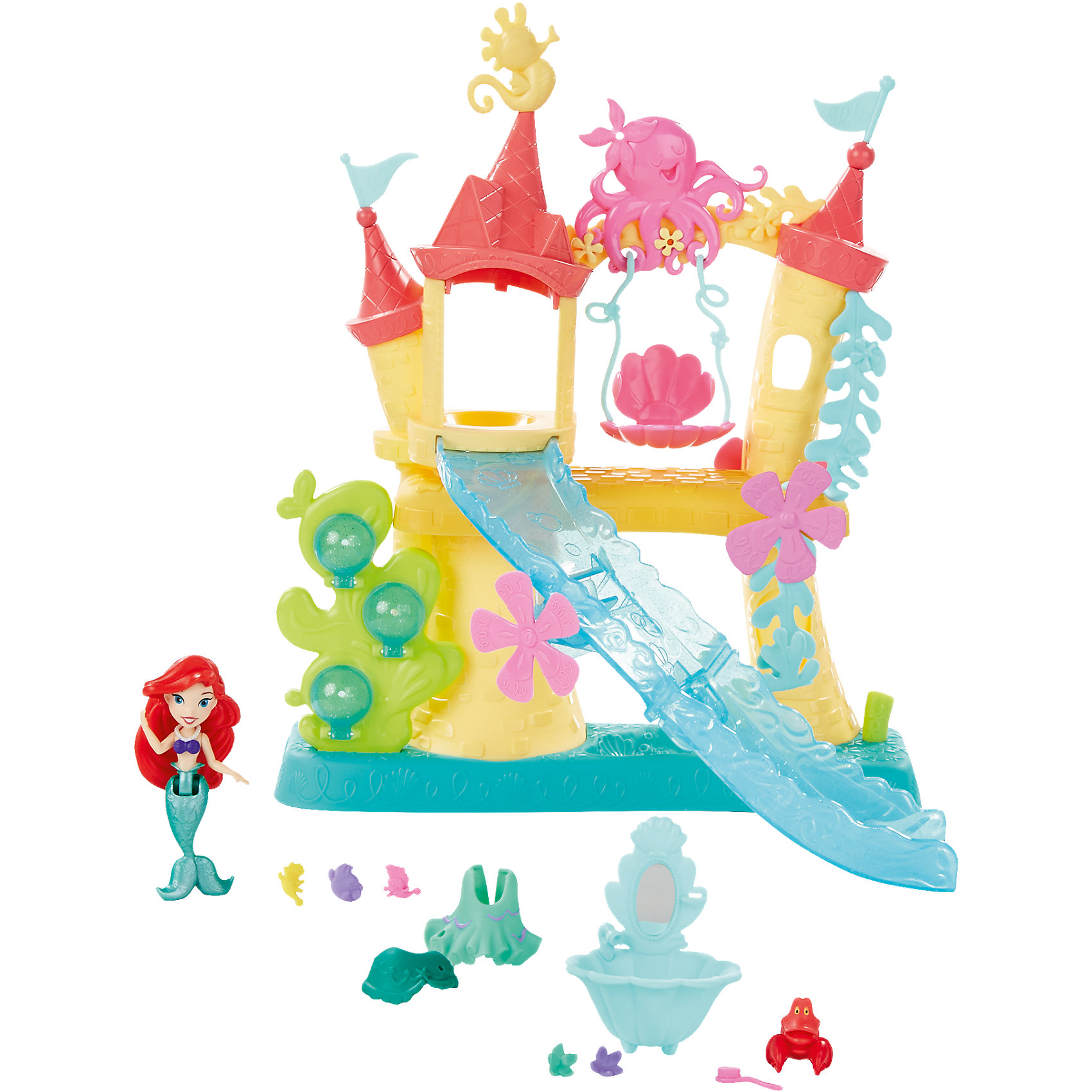 Замок Ариэль для игры с водой, Принцессы ДиснейАриэль и Себастьян приглашают вас посетить их прекрасный замок веселья. В замке есть качели, на которых можно покатать краба, лучшего друга русалочки, а также туалетный столик и крутая горка. Ребенок поможет сделать русалочке несколько трюков: прыжок в воду и выныривание с помощью водорослей.<br>Когда русалочка захочет покататься на горке, ее можно посадить. В комплекте есть наряды для Ариэль, а также множество других аксессуаров, которые сделают игру с набором весьма увлекательной. С набором можно играть в воде.<br><br>В комплекте: кукла, корсет, баска, юбка, игровой набор, 3 аксессуара, 5 украшений.<br>Размер: 30.5 x 7.5 x 25.5 см.<br>Высота куклы: 7.6 см.<br><br>Ширина мм: 308<br>Глубина мм: 261<br>Высота мм: 81<br>Вес г: 616<br>Возраст от месяцев: 36<br>Возраст до месяцев: 72<br>Пол: Женский<br>Возраст: Детский<br>SKU: 4351513