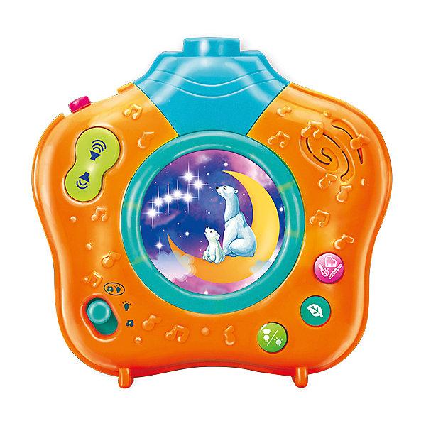 Ночник-проектор Волшебный мир, 9 колыбельных, 10 мелодий, УмкаДетские предметы интерьера<br>Ночник-проектор подарит вашему малышу спокойный отдых и добрые сны. Ночник работает в 3 режимах, которые переключаются с помощью кнопки: ночник-проектор с музыкой и звуками природы, ночник-проектор (без звука), ночник с музыкой. Длительность проигрывания и громкость регулируются. В середине ночничка цветная картинка, которая подсвечивается приятным желтым светом. Цветная проекция - звездочки и белые мишки будет медленно вращаться успокаивая малыша. Ночник-проектор имеет небольшой размер, его удобно брать с собой в поездки или же гости,  можно крепить на бортик кроватки с помощью специального ремешка, который есть в комплекте.<br><br>Дополнительная информация: <br><br>- Материал: пластик.<br>- Размер упаковки: 23х18х9 см. <br>- Длительность воспроизведения: 5,10, 15 мин (можно изменять).<br>- Регулировка громкости.<br>- 3 режима работы. <br>- Элемент питания: 3 батарейки 1,5 V АА (входят в комплект).<br>- 9 колыбельных, 10 мелодий. <br>- Песни: котик, котенька, коток…, спи, моя радость, усни!, баю, баюшки-баю (русская народная песня), месяц над нашею крышею светит, песенка звездочёта, лунная песня, колыбельная Светланы, спи, дитя мое, усни!, спи, мой мальчик, сладко-сладко...<br><br>Ночник-проектор Волшебный мир, 9 колыбельных, 10 мелодий, Умка, можно купить в нашем магазине.<br><br>Ширина мм: 230<br>Глубина мм: 180<br>Высота мм: 90<br>Вес г: 570<br>Возраст от месяцев: 0<br>Возраст до месяцев: 36<br>Пол: Унисекс<br>Возраст: Детский<br>SKU: 4357025