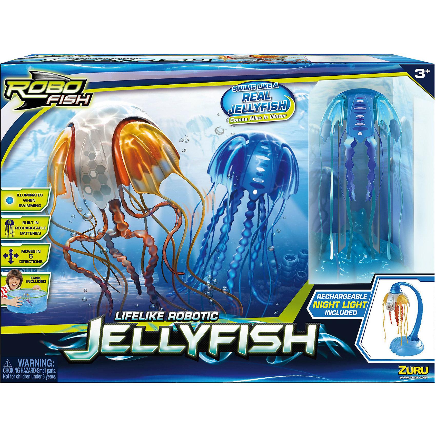 РобоМедуза синяя с Аквариумом, ZURUНовая плавающая игрушка, созданная по новейшей микро-робо технологии. РобоМедуза  активируется при погружении в воду, плывет в 5 направлениях, точно копируя грациозные движения настоящих медуз. В игрушку встроены светодиодные лампочки, светящиеся по очереди тремя цветами - розовым, голубым и зеленым. При подключении к зарядному устройству, Медуза превращается в светильник-ночник. <br><br>Дополнительная информация:<br><br>- Материал: пластик.<br>- Размер аквариума: d-40 см. <br>- Элемент питания: встроенные аккумуляторные батареи.<br>- Батареи заряжаются в зарядном устройстве. <br>- Комплектация: 1 РобоМедуза, 1  складной аквариум, 1  зарядное устройство-ночник.<br><br>РобоМедузу (синюю), с аквариумом, ZURU (Зуру) можно купить в нашем магазине.<br><br>Ширина мм: 108<br>Глубина мм: 400<br>Высота мм: 290<br>Вес г: 2400<br>Возраст от месяцев: 36<br>Возраст до месяцев: 96<br>Пол: Унисекс<br>Возраст: Детский<br>SKU: 4357366