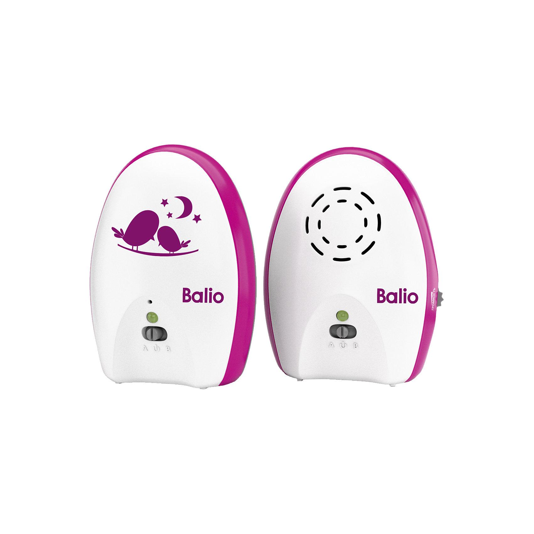 Радионяня МB-02 BalioДетская бытовая техника<br>Радионяня МB-02 Balio – это компактная беспроводная система аудио наблюдения за ребенком с дальностью до 200 метров.<br>Радионяня Balio имеет эффектный и стильный дизайн. Она порадует отличным качеством и продуманной функциональностью и станет верным помощником для молодых родителей. Теперь можно спокойно заниматься в другой комнате своими делами, пока малыш спит или играет в детской. Если возникнет необходимость присутствия родителей, радионяня вовремя предупредит. Радионяня МB-02 Balio состоит из двух основных элементов: передатчика (детского блока) и приемника (родительского блока). Детский блок работает в стационарном режиме с питанием от сетевого адаптера. Родительский блок может работать как от сетевого адаптера питания, так и от батареек или аккумуляторов (в комплект не входят), обеспечивающих возможность эксплуатации блока в переносном режиме.<br><br>Дополнительная информация:<br><br>- Комплектация: детский блок, родительский блок, сетевой адаптер 2 шт, инструкция<br>- Дальность до 200 метров<br>- Режим ожидания для снижения энергопотребления<br>- Голосовая активация<br>- Регулировка уровня звука<br>- Световая индикация низкого заряда батареи<br>- Фиксатор для крепления родительского блока на поясе или одежде<br>- Цвет: белый, розовый<br>- Размер упаковки: 16 х 20 х 7 см.<br>- Вес: 480 гр.<br>- Гарантия: 12 месяцев<br><br>Радионяню МB-02 Balio можно купить в нашем интернет-магазине.<br><br>Ширина мм: 70<br>Глубина мм: 190<br>Высота мм: 160<br>Вес г: 40<br>Возраст от месяцев: 0<br>Возраст до месяцев: 36<br>Пол: Унисекс<br>Возраст: Детский<br>SKU: 4361096