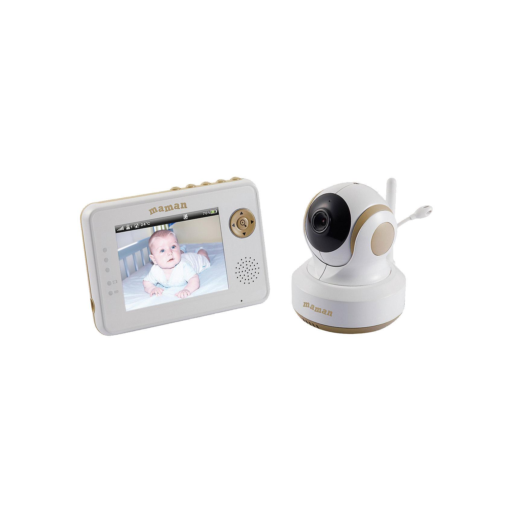 Видеоняня Maman VM2502Детская бытовая техника<br>Видеоняня VM2502 Maman – это высокотехнологичная система для наблюдения за ребенком.<br>Видеоняня VM2502 Maman - это многофункциональная беспроводная система видеонаблюдения с функцией автоматического слежения и дистанционным управлением камерой с помощью кнопок монитора. Данная модель использует современную технологию передачи данных, которая позволяет избежать помех. Видеоняня позволит не только видеть и слышать вашего ребенка на расстоянии, но и поддерживать с ним двустороннюю связь. Таким образом, вы сможете своевременно обеспечить необходимый уход за малышом. Видеоняня представляет собой маломощное радиоустройство, передающее аудио- и видео-сигнал по радиоканалу в пределах помещения с дальностью действия до 150 метров на открытой местности. Питание камеры и монитора осуществляет от сети 220В. Монитор также может работать от аккумулятора. Имеется возможность настенного крепления камеры.<br><br>Дополнительная информация:<br><br>- В комплекте: камера, монитор, аккумулятор для монитора(Li-Ion, 1100 мАч), сетевой адаптер, комплект для крепления устройств к вертикальной поверхности, руководство пользователя<br>- Время заряда: 8 часов <br>- Цветной дисплей с диагональю 3,5 дюйма<br>- Режимы: «Обратная связь», «Ночное видение»<br>- Режим энергосбережения и голосовой активации<br>- Проигрывание колыбельных мелодий (3 мелодии)<br>- Измерение температуры в комнате<br>- Таймер кормления<br>- 2-кратное увеличение изображения<br>- Регулировка уровня чувствительности, звука, яркости<br>- Раскладные антенны<br>- Световая индикация низкого заряда батареи<br>- Индикация процесса зарядки аккумуляторной батареи<br>- Зажим для размещения на поясе<br>- Размеры: монитора - 120 x 80 x 25 мм, камеры - 105 x 100 x 85мм.<br>- Вес: монитора – 135 г., камеры - 220 г.<br>- Размер в упаковке: 260 x 250 x 130 мм.<br>- Вес в упаковке: 1035 гр.<br>- Гарантия: 1 год<br><br>Видеоняню VM2502 Maman можно купить в нашем интернет-магазине.<br><br>Ширин
