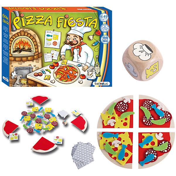Развивающая игра Пицца Фиеста, BeleducПособия для обучения счёту<br>С помощью этого набора свою вкусную пиццу смогут испечь даже малыши! Кидай кубик и узнавай, какие ингредиенты тебе понадобятся. Кто же испечет свою пиццу первым? И у кого она будет самая вкусная? Все детали набора выполнены из высококачественных экологичных материалов, не имеют острых углов, раскрашены гипоаллергенной краской безопасной для детей. Игра не только дарит море положительных эмоций, но и поможет развить социальные навыки малыша, моторику, визуальное восприятие, запомнить цвета, формы и числа. <br><br>Дополнительная информация:<br><br>- Материал: дерево, текстиль, картон.<br>- Размер игры: 32x24x5 см.<br>- Комплектация: кубик, куски-основа (4 шт), детали начинки (рыба 6 шт, грибы 6 шт, перец 6 шт, колбаса 6 шт, сыр 6 шт. ) 14 игровых карт.<br><br>Развивающую игру Пицца Фиеста, Beleduc, можно купить в нашем магазине.<br><br>Ширина мм: 320<br>Глубина мм: 240<br>Высота мм: 50<br>Вес г: 580<br>Возраст от месяцев: 36<br>Возраст до месяцев: 60<br>Пол: Унисекс<br>Возраст: Детский<br>SKU: 4363016