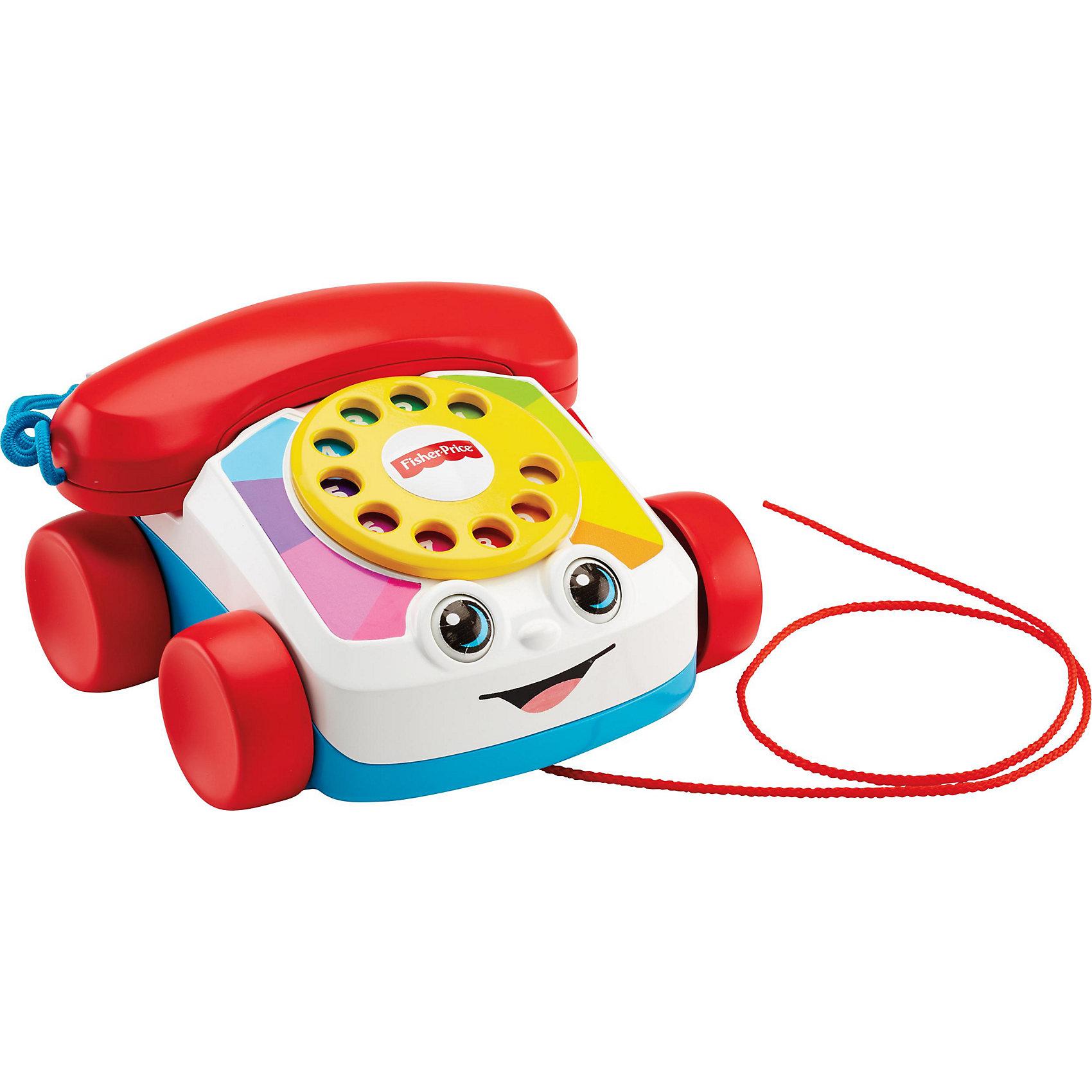 Говорящий телефон на колесахЯркий телефон на колесах обязательно понравится малышам! Игрушку можно возить за собой на веревочке. Играя с телефоном, кроха сможет крутить диск, снимать трубку, воображая, что ему кто-то звонит. Мигающие глазки и звонок сделают игру еще более интересной и веселой! Телефон выполнен из высококачественных экологичных материалов безопасных для детей. <br><br>Дополнительная информация:<br><br>- Материал: пластик.<br>- Размер игрушки: 17х17х10 см.<br>- Длина веревки: 60 см.<br>- Световые, звуковые эффекты. <br>- Диск телефона при вращении звенит. <br><br>Говорящий телефон на колесах можно купить в нашем магазине.<br><br>Ширина мм: 171<br>Глубина мм: 169<br>Высота мм: 111<br>Вес г: 501<br>Возраст от месяцев: 12<br>Возраст до месяцев: 36<br>Пол: Унисекс<br>Возраст: Детский<br>SKU: 4365491