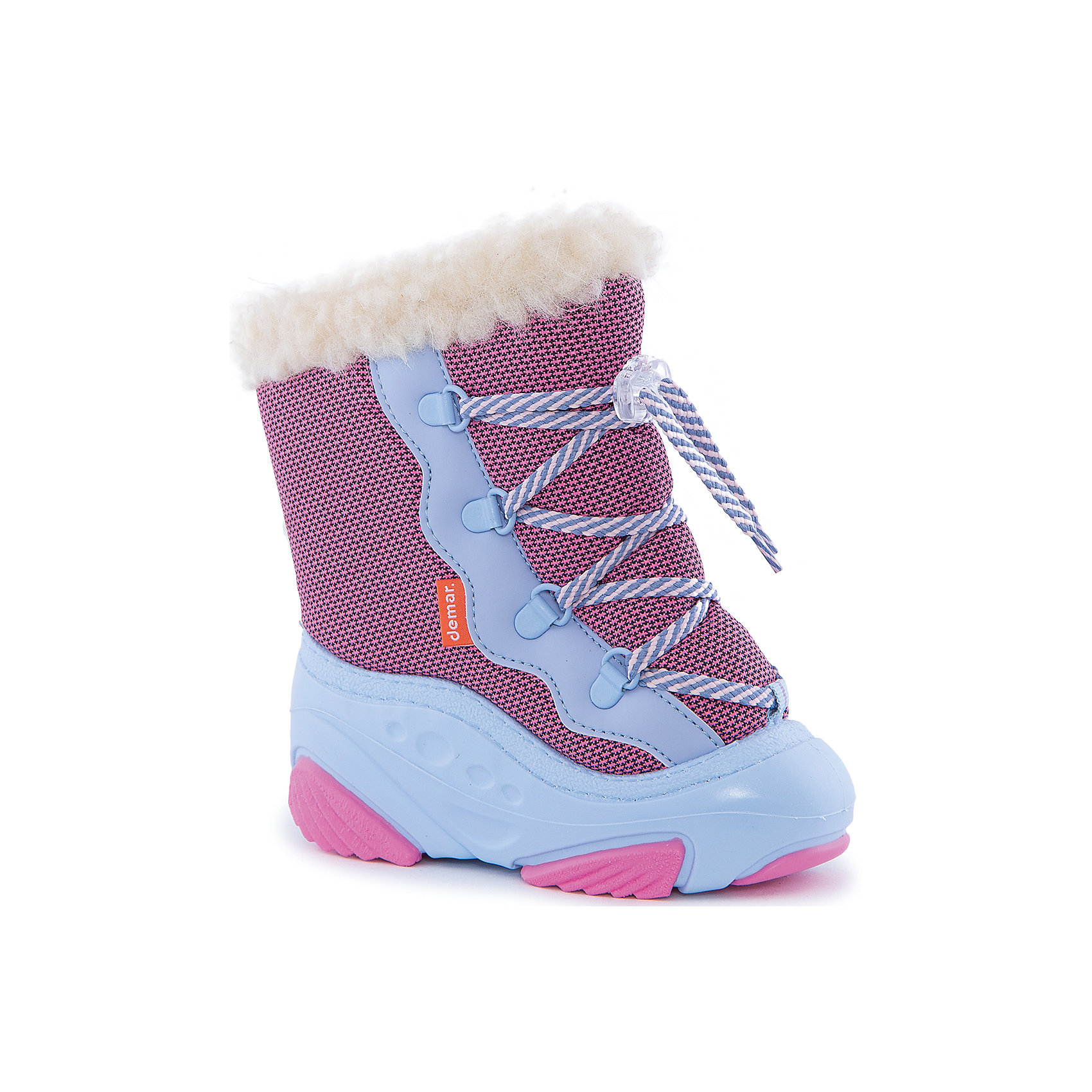 Сноубутсы Snow Mar для девочки DemarСноубутсы<br>Характеристики товара:<br><br>• цвет: розовый<br>• материал верха: текстиль<br>• материал подкладки: 100% натуральная шерсть <br>• материал подошвы: ТЭП<br>• температурный режим: от -25° до 0° С<br>• верх не продувается, пропитка от грязи и влаги<br>• анискользящая подошва<br>• шнуровка<br>• усиленные пятка и носок<br>• страна бренда: Польша<br>• страна изготовитель: Польша<br><br>Зима - это время катания с горок, игр в снежки, лепки снеговиков и прогулок в снегопад! Чтобы не пропустить главные зимние удовольствия, нужно запастись теплой и удобной обувью. Такие сапожки обеспечат ребенку необходимый для активного отдыха комфорт, а подкладка из натуральной овечьей шерсти позволит ножкам оставаться теплыми. Сапожки легко надеваются и снимаются, отлично сидят на ноге. Они удивительно легкие!<br>Обувь от польского бренда Demar - это качественные товары, созданные с применением новейших технологий и с использованием как натуральных, так и высокотехнологичных материалов. Обувь отличается стильным дизайном и продуманной конструкцией. Изделие производится из качественных и проверенных материалов, которые безопасны для детей.<br><br>Сапожки для девочки от бренда Demar (Демар) можно купить в нашем интернет-магазине.<br><br>Ширина мм: 257<br>Глубина мм: 180<br>Высота мм: 130<br>Вес г: 420<br>Цвет: розовый<br>Возраст от месяцев: 48<br>Возраст до месяцев: 60<br>Пол: Женский<br>Возраст: Детский<br>Размер: 28/29,24/25,22/23,20/21,26/27<br>SKU: 4366123