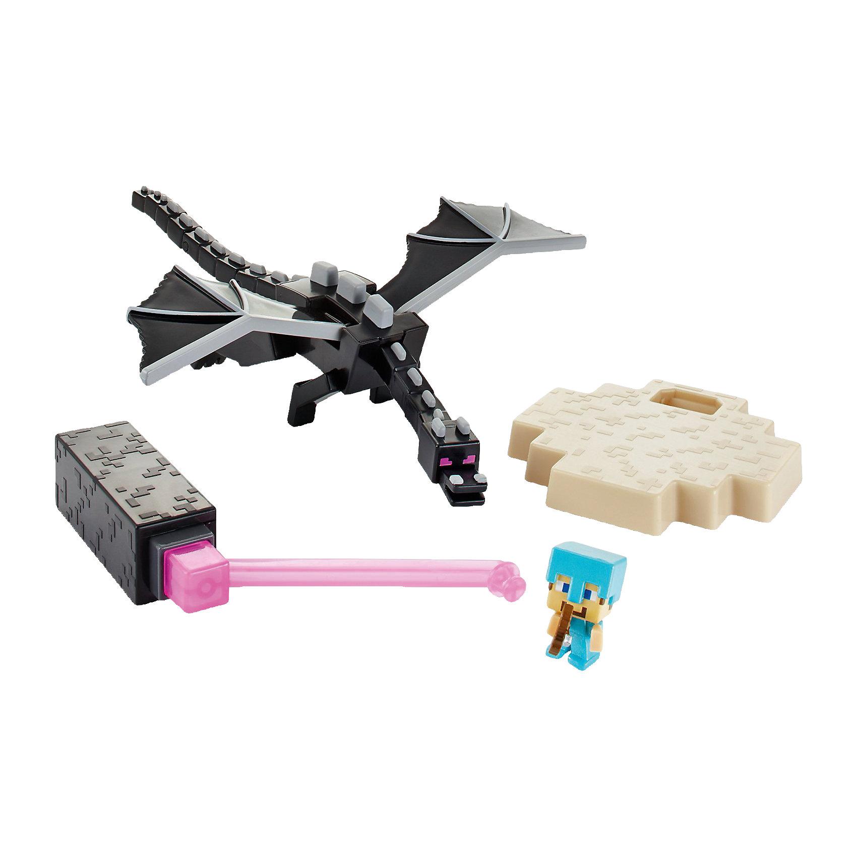 Игровой набор Стив против Дракона, MinecraftИгровой набор Стив против Дракона, Minecraft (Майнкрафт)<br><br>Комплект фигурок Стив против Дракона - это мечта любителей Minecraft (Майнкрафт) (популярной компьютерной игры), но он понравится и тем, кто обожает драконов. Герой может бороться с драконом с помощью алмазной брони голубого цвета и арбалетом со стрелой. Дракон - подвижный, он может шевелить большими черными крыльями и хвостом.<br>Набор изготовлен из качественного пластика с высокой детализацией.<br>Набор сделан из высококачественных, легких и безопасных для детей материалов (из качественного пластика с высокой детализацией). Продается в красивой тематической упаковке.<br><br>Дополнительная информация:<br><br>цвет: разноцветный;<br>комплектация: 2 фигурки, диорама, стенд;<br>материал: пластик;<br>размер упаковки: 15x21x17 см;<br>упаковка: картонная коробка блистерного типа.<br><br>Игровой набор Стив против Дракона, Minecraft (Майнкрафт) можно купить в нашем магазине.<br><br>Ширина мм: 210<br>Глубина мм: 165<br>Высота мм: 156<br>Вес г: 297<br>Возраст от месяцев: 72<br>Возраст до месяцев: 120<br>Пол: Мужской<br>Возраст: Детский<br>SKU: 4373773