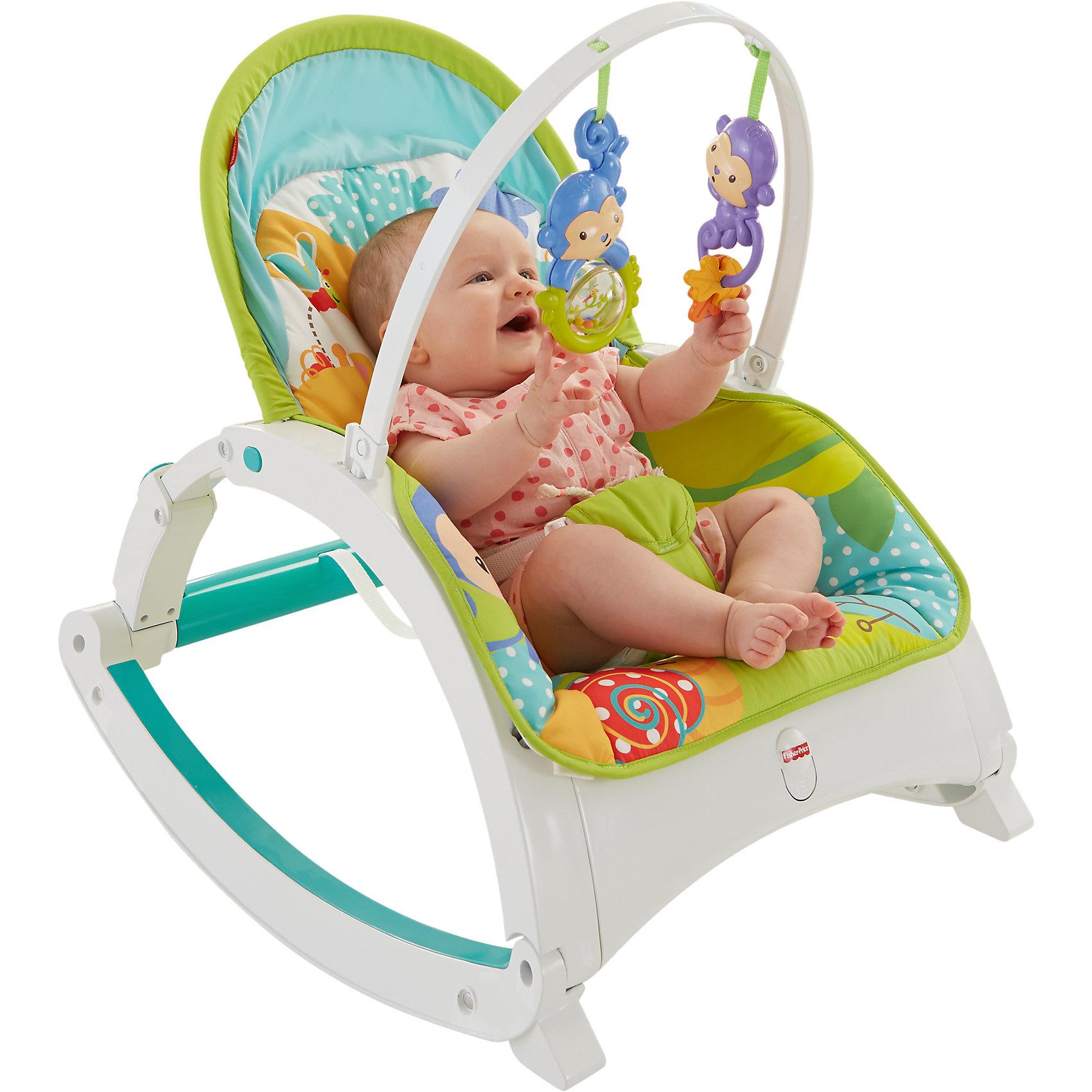 Кресло-качалка Друзья из тропического леса, Fisher-PriceЭто кресло-качалка разработано специально для самых маленьких. С помощью него ребенок будет активнее изучать окружающий мир и развить чувство равновесия, координацию и моторику. Качалка имеет удобное для маленького ребенка сидение и рассчитана на максимально безопасный диапазон качания. <br>Качалка имеет функцию вибрации, которая помогает малышу заснуть быстрее, съемное оголовье с двумя погремушками. Она выполнена в яркой расцветке, она произведена из высококачественных материалов. Эти материалы безопасны для ребенка. Мягкое сиденье можно стирать в машине. Кресло-качалка очень легко моется и мало весит. Работает на батарейках.<br><br>Дополнительная информация:<br><br>цвет: разноцветный;<br>материал: пластик, текстиль;<br>вес: 3,6 кг;<br>размер: 44 x 13,5 x 60,5 см.<br><br>Кресло-качалка Друзья из тропического леса  от марки Fisher-Price (Фишер-Прайс), Mattel, можно купить в нашем магазине.<br><br>Ширина мм: 613<br>Глубина мм: 443<br>Высота мм: 144<br>Вес г: 3642<br>Возраст от месяцев: 0<br>Возраст до месяцев: 12<br>Пол: Унисекс<br>Возраст: Детский<br>SKU: 4375579