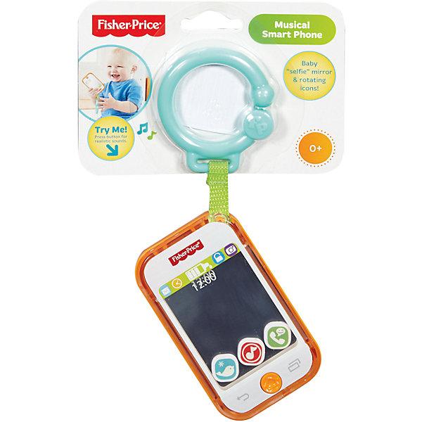 Телефон музыкальный, Fisher-PriceИнтерактивные игрушки для малышей<br>Музыкальный телефон от Fisher-Price (Фишер-Прайс) может занять малыша, его размер - небольшой, поэтому игрушку удобно брать с собой на прогулку иди в дорогу. Телефон дополнен подвеской, с помощью которой легко крепится на коляску. <br>Музыкальный телефон поможет ребенку  тренировать мелкую моторику благодаря рельефной поверхности, а также помогает развить внимание и слуховое восприятие. Нажав на одну из его кнопок, малыш услышит музыкальные  звуки. Сделана развивающая игрушка из безопасных для ребенка материалов.<br><br>Дополнительная информация: <br><br>цвет: разноцветный;<br>материал: пластик;<br>в комплекте - подвеска;<br>размер без подвески: 10х6 см;<br>батарейка всходит в комплект.<br><br>Телефон музыкальный от бренда Fisher-Price (Фишер-Прайс) можно купить в нашем магазине.<br><br>Ширина мм: 238<br>Глубина мм: 164<br>Высота мм: 22<br>Вес г: 113<br>Возраст от месяцев: 0<br>Возраст до месяцев: 12<br>Пол: Унисекс<br>Возраст: Детский<br>SKU: 4375585