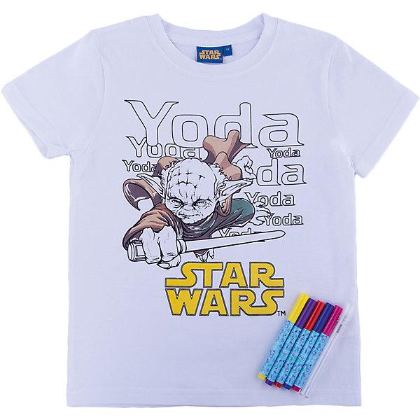 Футболка с фломастерами для раскрашивания, Звёздные ВойныФутболки, поло и топы<br>Творческий набор Раскрась футболку – одежда с уникальным дизайном каждый день! Как это работает? Достаньте футболку и магические маркеры из упаковки. Раскрасьте футболку маркерами. При желании изменить что-то в получившемся рисунке, просто распылите несколько капель воды на участок, потрите немного - все вернется в исходное положение. Ваша футболка с уникальным дизайном готова! Для изменения дизайна, простирайте футболку, дайте ей высохнуть, и снова приступайте к творчеству! Футболка выполнена из натурального хлопка, очень приятна к телу. В производстве маркеров использованы только экологичные, гипоаллергенные красители на водной основе абсолютно безопасные для детей. Подарите вашему ребенку радость самовыражения, а любимые герои сделают процесс творчества интересным, радостным и всегда желанным! <br><br>Дополнительная информация:<br><br>- Материал футболки: 100% хлопок.<br>- Комплектация: футболка  с нанесенным изображением, 5 стирающихся маркеров, пульверизатор. <br>- Размер футболки 3 ( российский размер 98; возраст  ребенка - 3 года)<br>- Параметры для размера: <br>обхват груди: 56 см,<br>обхват талии: 51 см,<br>обхват бедер: 62 см.<br>- Не забывайте закрывать маркеры после использования. <br><br>Футболку с фломастерами для раскрашивания, Звёздные Войны (Star Wars), можно купить в нашем магазине.<br>Ширина мм: 285; Глубина мм: 30; Высота мм: 300; Вес г: 256; Цвет: белый; Возраст от месяцев: 48; Возраст до месяцев: 60; Пол: Унисекс; Возраст: Детский; Размер: 104,128,98,110,116; SKU: 4376094;
