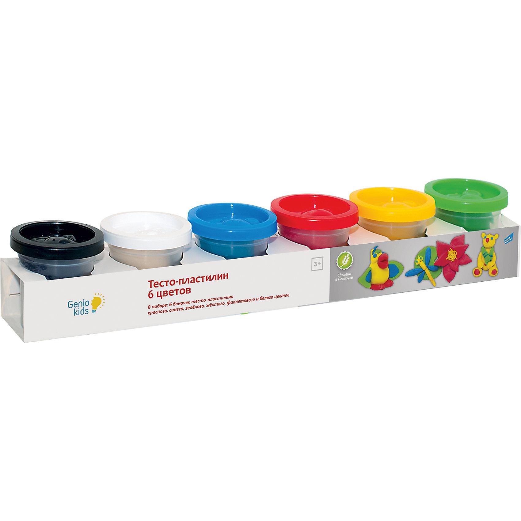 Тесто-пластилин, 6 цветовТесто-пластилин замечательно подойдет для детского творчества и превратит лепку в увлекательное занятие. Яркие разнообразные цвета открывают ребенку простор для творческих экспериментов и позволят создавать различные фигурки и поделки. Мягкий тесто- пластилин изготовлен из пшеничной муки и безвреден для детского здоровья, он обладает отличными пластичными свойствами, легко смывается и не оставляет грязи. Смешивая цвета Вы получите новые яркие оттенки. В комплекте 6 баночек тесто-пластилина разных цветов (синий, зеленый, красный, желтый, белый, тёмно-фиолетовый). На крышках баночек имеются штампы с забавными зверюшками. Занятия лепкой развивают у ребенка фантазию, творческие способности и объемное воображение, тренируют координацию движений и мелкую моторику.<br><br>Дополнительная информация:<br><br>- В комплекте: 6 цветов (50 гр.). <br>- Размер упаковки: 5,5 х 33 х 5,5 см.<br>- Вес: 0,31 кг.<br><br>Тесто-пластилин, 6 цветов, Genio Kids, можно купить в нашем интернет-магазине.<br><br>Ширина мм: 55<br>Глубина мм: 330<br>Высота мм: 55<br>Вес г: 310<br>Возраст от месяцев: 36<br>Возраст до месяцев: 120<br>Пол: Унисекс<br>Возраст: Детский<br>SKU: 4376676