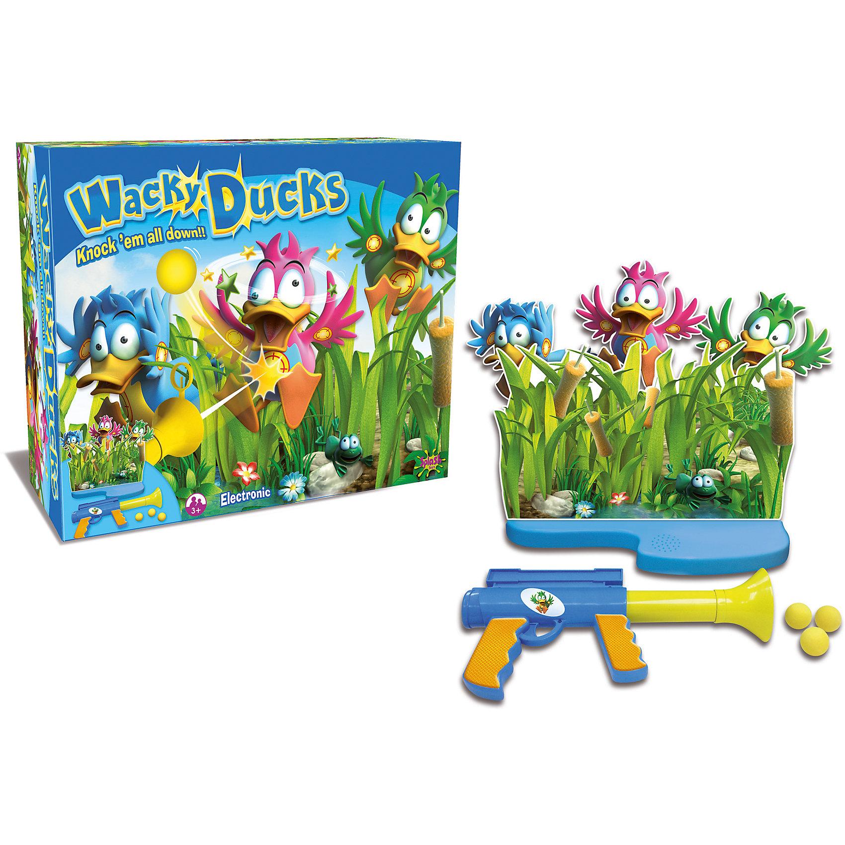 Игра Утиная охота, Splash ToysНастольные игры для всей семьи<br>Эта веселая  игра обязательно заинтересует детей. Скорее вооружайся пистолетом и отправляйся на утиную охоту! Притаись и жди: вот-вот из травы выглянет шустрая утка, остается только прицелиться и выстрелить. Все детали набора выполнены из высококачественных материалов, безопасны для детей. Пистолет стреляет мягкими шариками. Веселая игра надолго увлечет ребенка и поможет развить ему внимание, скорость реакции и меткость. <br><br>Дополнительная информация:<br><br>- Материал: пластик, картон.<br>- Размер: 34,7x16,2x26,7 см<br>- Безопасные мягкие пули.<br>- Звуковые, световые эффекты. <br>- Элемент питания: 3 ААА батарейки (не входят в комплект).<br>- Комплектация: электронное основание, картонная декорация, двигающиеся утки 3 шт., мячи 3 шт., ружьё, инструкция.<br><br>Игру Утиная охота, Splash Toys, можно купить в нашем магазине.<br><br>Ширина мм: 347<br>Глубина мм: 162<br>Высота мм: 267<br>Вес г: 900<br>Возраст от месяцев: 36<br>Возраст до месяцев: 168<br>Пол: Унисекс<br>Возраст: Детский<br>SKU: 4377570