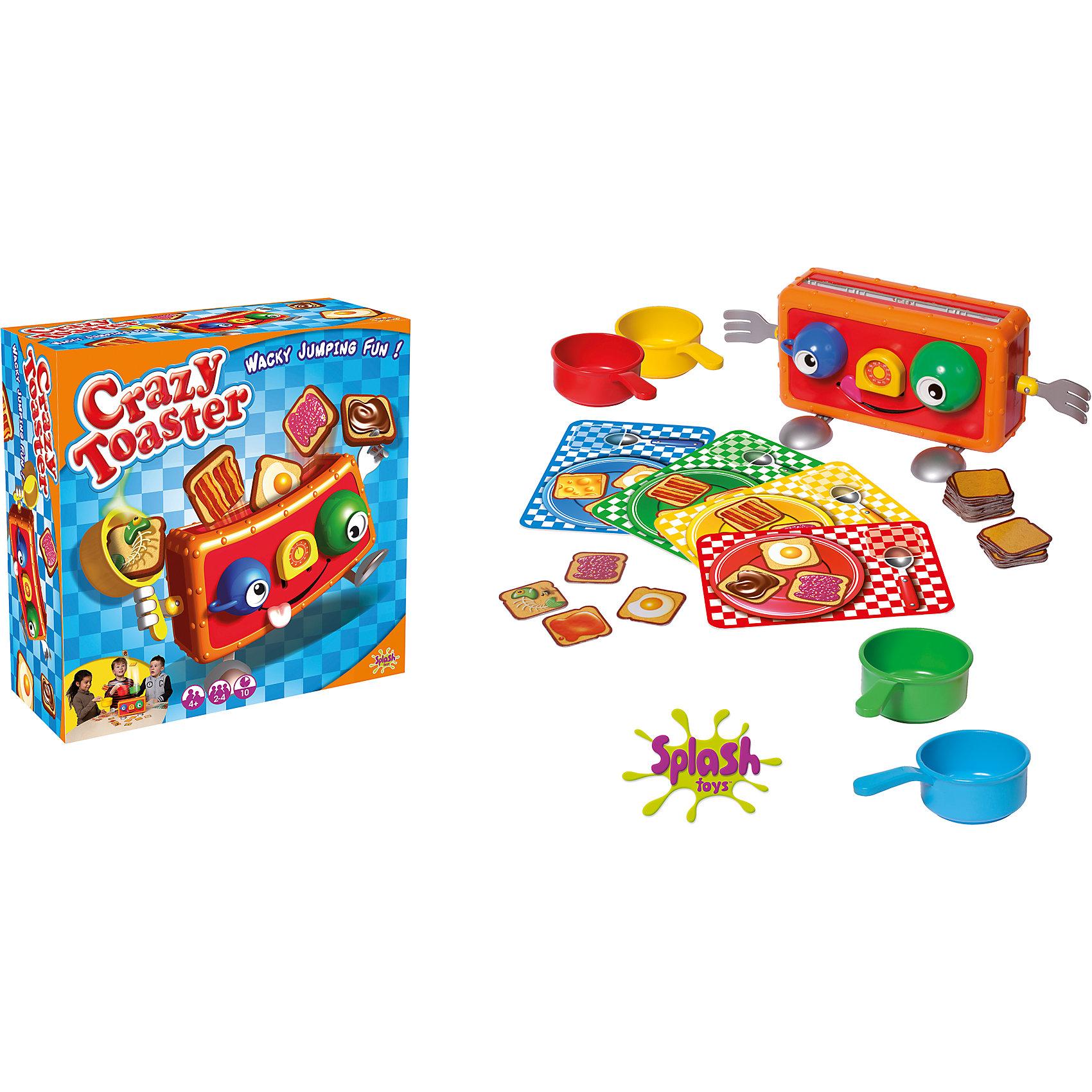 Игра Веселый тостер, Splash ToysИгры для развлечений<br>Хочешь полакомиться ароматными тостами?? Тогда попробуй поймать их! Суть игры состоит в том, чтобы ловить пластиковые тосты с помощью кастрюльки. Хитрые тосты выскакивают, когда им вздумается, не зевай и будь начеку. Все детали набора выполнены из высококачественных материалов, безопасны для детей. Веселая игра надолго увлечет ребенка и поможет развить ему внимание и скорость реакции.<br><br>Дополнительная информация:<br><br>- Материал: пластик.<br>- Размер: 27х12х27 см.<br>- Комплектация: - 1 тостер, состоит из: 1 корпус, 2 ложки-ножки, 2 вилки-ручки, 2 чашки-глазка, 1 лист со стикерами, 40 ломтиков хлеба: 6 с шоколадом, 6 с мёдом, 6 с сыром, 6 с вареньем, 6 с яйцом, 6 с беконом, 4 с испорченной рыбой, 4 столовых комплекта 4-х цветов, 4 кастрюльки, чтобы ловить тосты.<br><br>Игру Веселый тостер, Splash Toys, можно купить в нашем магазине.<br><br>Ширина мм: 270<br>Глубина мм: 120<br>Высота мм: 265<br>Вес г: 950<br>Возраст от месяцев: 36<br>Возраст до месяцев: 168<br>Пол: Унисекс<br>Возраст: Детский<br>SKU: 4377571