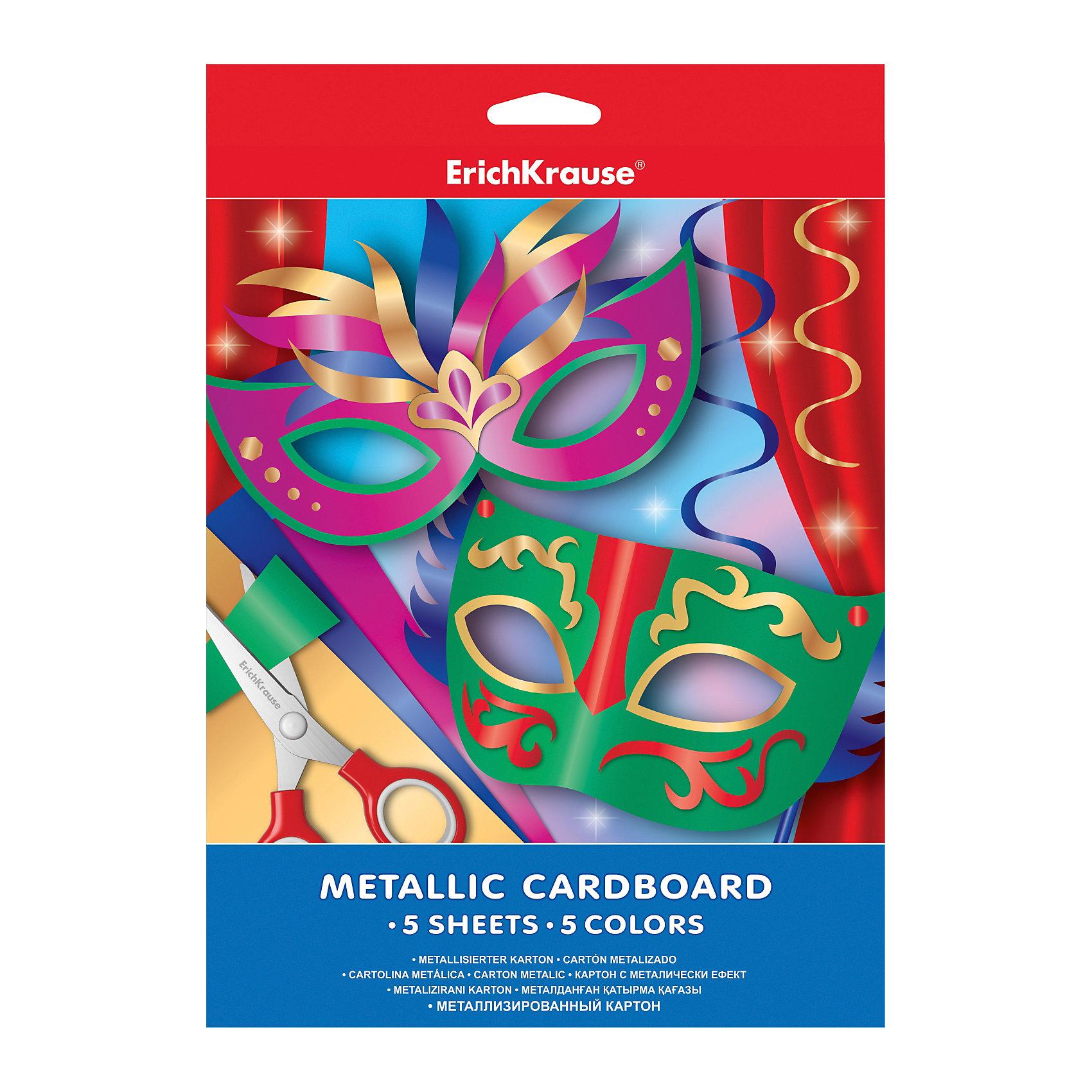 Металлизированный картон А4 (5 листов, 5 цветов)Металлизированный картон - оптимальное решение<br>для производства роскошной упаковки, конвертов и основы для открыток. Поделка, оформленная с помощью металлизированного картона будет выгодно выделяться и привлекать к себе внимание. Прекрасный вариант для оформления открыток к Новому Году! <br><br>Дополнительная информация:<br><br>- Материал: бумага, картон.<br>- Формат: А4.<br>- Количество листов: 5.<br>- Количество цветов: 5.<br><br>Металлизированный картон А4 (5 листов, 5 цветов), Erich Krause, можно купить в нашем магазине.<br><br>Ширина мм: 210<br>Глубина мм: 280<br>Высота мм: 5<br>Вес г: 108<br>Возраст от месяцев: 36<br>Возраст до месяцев: 108<br>Пол: Унисекс<br>Возраст: Детский<br>SKU: 4379666