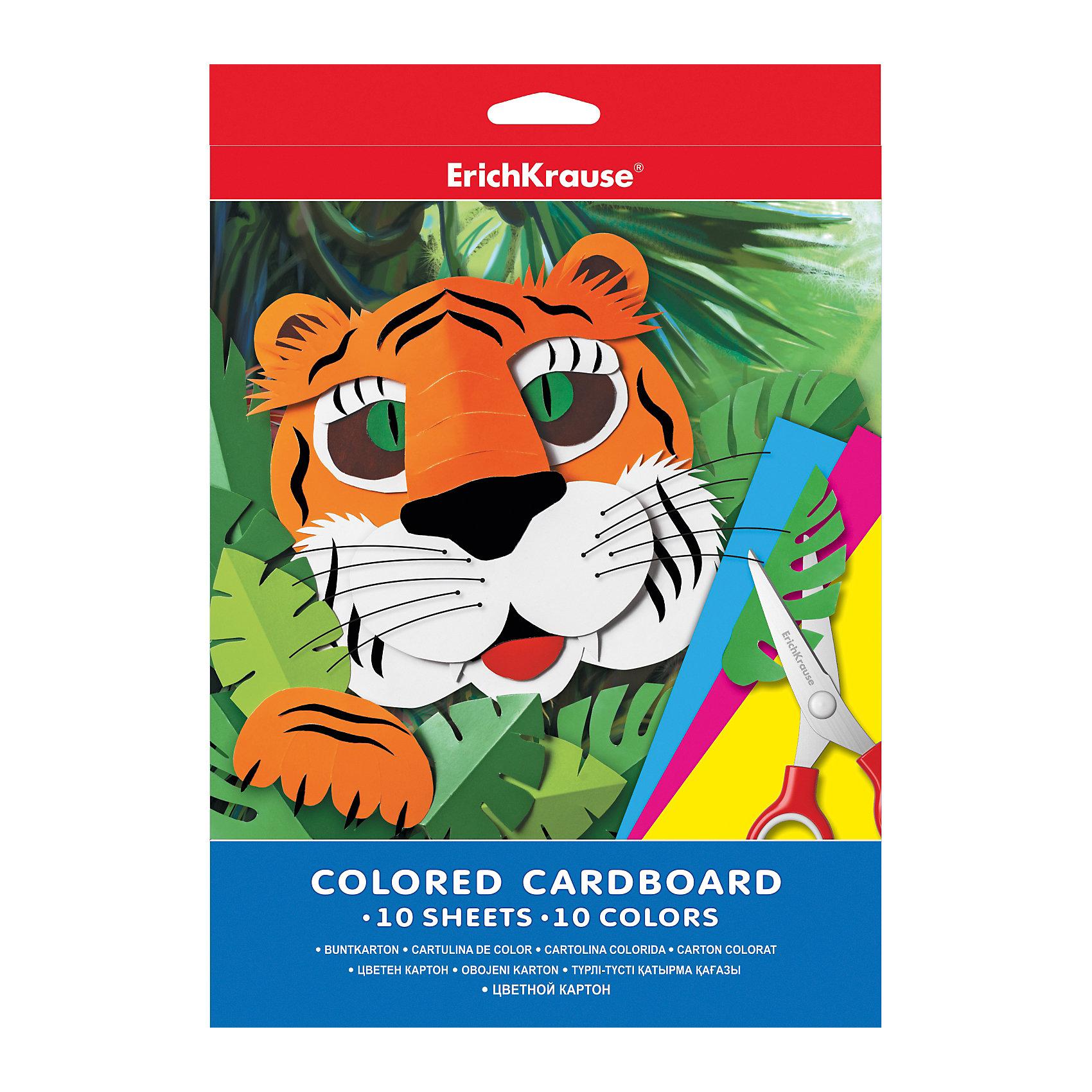 ErichKrause Цветной картон А4 (10 листов, 10 цветов) картон цветной sadipal a4 10 пастельн цветов 10л 170гр sirio