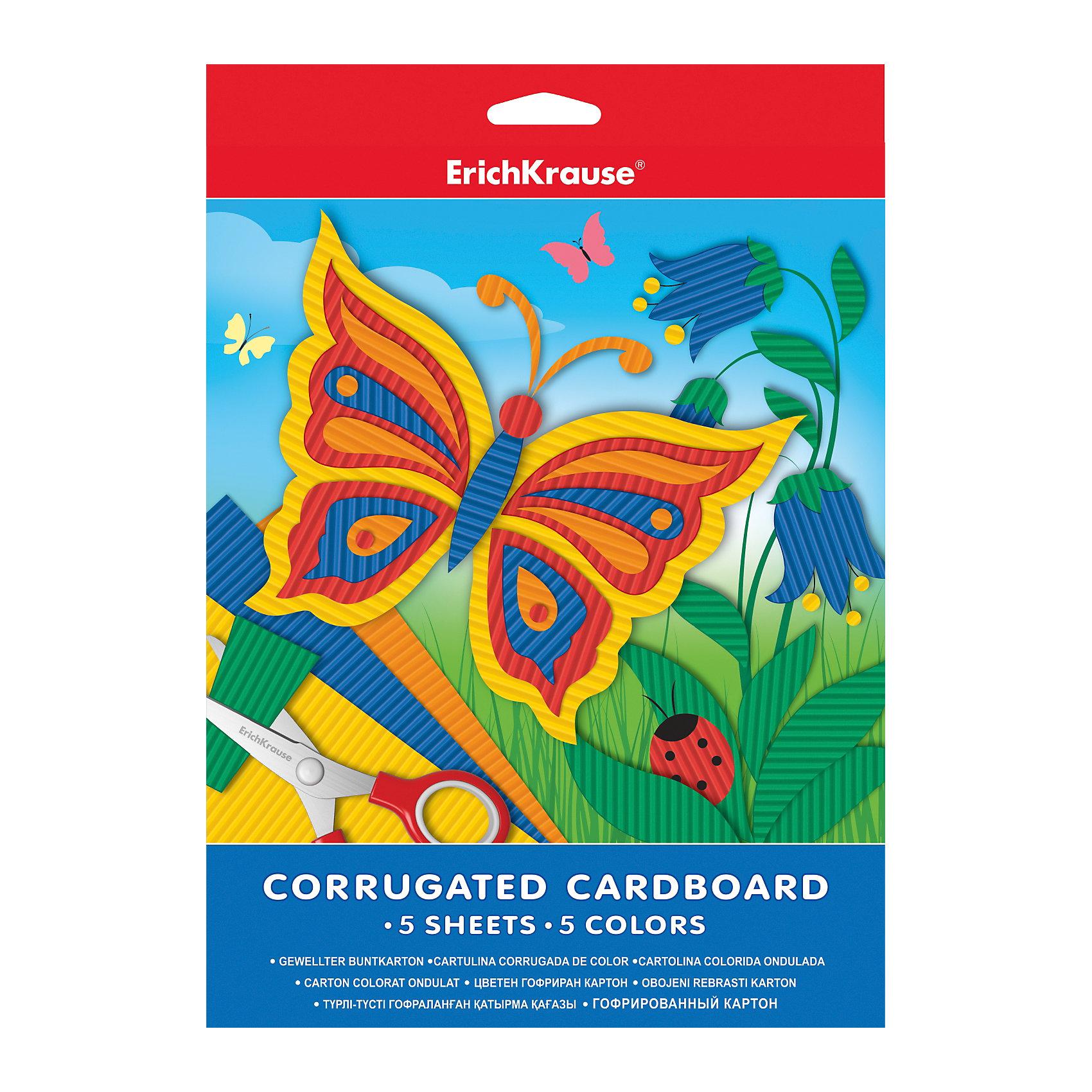 ErichKrause Гофрированный картон А4 (5 листов, 5 цветов) феникс картон гофрированный с глиттерным напылением