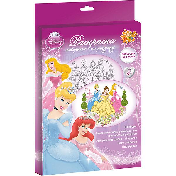 Акварельная раскраска Принцессы ДиснейНаборы для раскрашивания<br>Этот набор станет отличным подарком на любой праздник. В нем есть все, для того, чтобы раскрасить любимых принцесс! <br><br>Дополнительная информация:<br><br>- Материал: бумага, пластик, краски. <br>- Комплектация: бумажная основа с нанесенным рисунком, краски, кисть.<br>- Размер: 34х22 см.<br><br>Акварельную раскраску Принцессы Дисней (Disney princess) можно купить в нашем магазине.<br>Ширина мм: 340; Глубина мм: 217; Высота мм: 20; Вес г: 142; Возраст от месяцев: 48; Возраст до месяцев: 84; Пол: Женский; Возраст: Детский; SKU: 4381375;