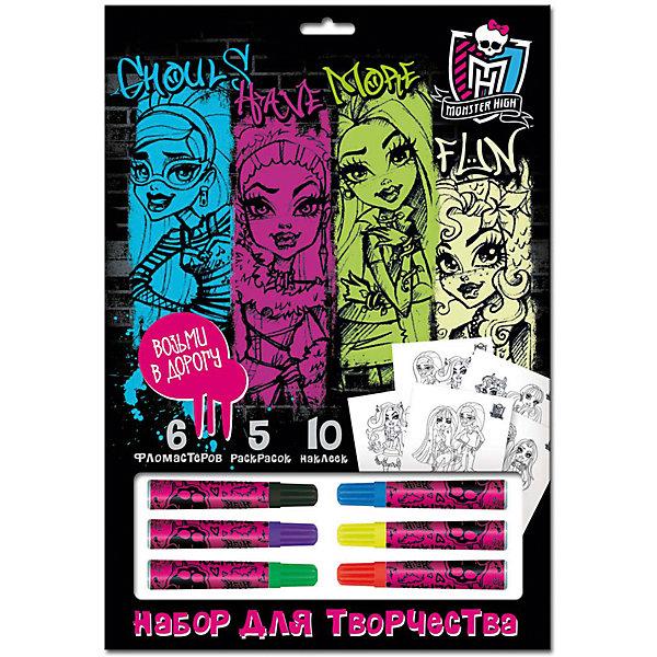Набор для рисования, Monster HighНаборы для раскрашивания<br>Набор для рисования, Monster High – этот набор для творчества порадует поклонниц мультсериала Школа Монстров.<br>Набор для рисования Monster High – это занимательный набор для детского творчества, который станет прекрасным подарком для девочки. В наборе есть все необходимые аксессуары для увлекательного рисования: 6 цветных фломастеров, 10 наклеек и 5 оригинальных раскрасок с изображениями героинь Монстр Хай. Чтобы создать красивые картинки нужно всего лишь проявить фантазию и аккуратность! Девочка с удовольствием будет раскрашивать любимых героинь, а заодно развивать усидчивость, эстетический вкус и координацию движений. Вы можете взять этот набор с собой в дорогу, на отдых или просто на прогулку. Легкий и компактный набор поможет вам занять ребенка вовремя любого путешествия.<br><br>Дополнительная информация:<br><br>- В наборе: 6 фломастеров, 5 листов раскрасок формата А4, 10 наклеек<br>- Размер упаковки: 33 х 23 х 20 см.<br>- Вес: 170 гр.<br><br>Набор для рисования, Monster High (Монстр Хай) можно купить в нашем интернет-магазине.<br><br>Ширина мм: 330<br>Глубина мм: 230<br>Высота мм: 200<br>Вес г: 170<br>Возраст от месяцев: 48<br>Возраст до месяцев: 96<br>Пол: Женский<br>Возраст: Детский<br>SKU: 4383105