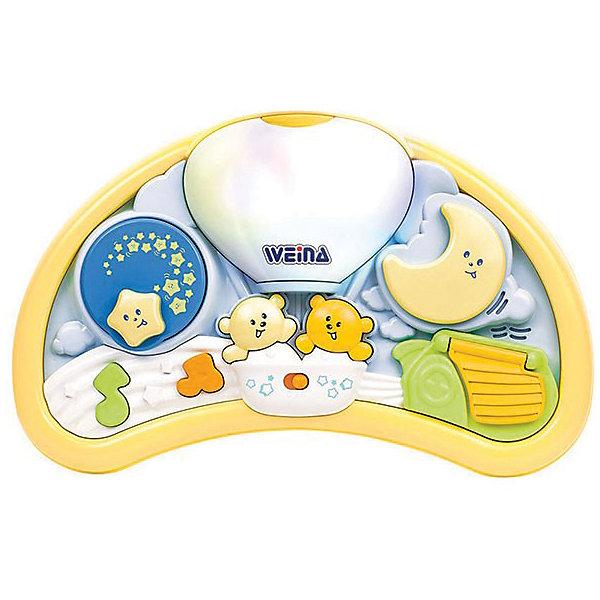 Ночник Мишки, WeinaДетские предметы интерьера<br>Чудесный ночник Мишки, Weina, поможет малышу упокоиться перед сном и поскорее заснуть. Он создаст уют и комфорт в комнатке Вашего ребенка. Игрушка представляет из себя игровую панель с крупными кнопочками в виде забавных мишек, летящих на воздушном шаре, месяца и крутящейся звездочки, легко крепится к стенкам кроватки. Воздушный шар излучает ночной приглушенный свет или магическую подсветку (переливается разными цветами), а нажимая на кнопочки малыш услышит забавные звуки, нежные колыбельные мелодии и звук ночного леса. Громкость звука можно регулировать или отключить вовсе, чтобы использовать ночник без музыки. Способствует развитию звукового и цветового восприятия, тренирует мелкую моторику рук.<br><br>Дополнительная информация:<br><br>- Материал: пластик.<br>- Требуются батарейки: 3 х АА 1,5 В (входят в комплект).<br>- Размер игрушки: 36 х 22 х 8 см. <br>- Размер упаковки: 39 х 27 х 9 см. <br>- Вес 0,8 кг.<br><br>Ночник Мишки, Weina, можно купить в нашем интернет-магазине.<br><br>Ширина мм: 550<br>Глубина мм: 540<br>Высота мм: 420<br>Вес г: 800<br>Возраст от месяцев: 0<br>Возраст до месяцев: 36<br>Пол: Унисекс<br>Возраст: Детский<br>SKU: 4384682