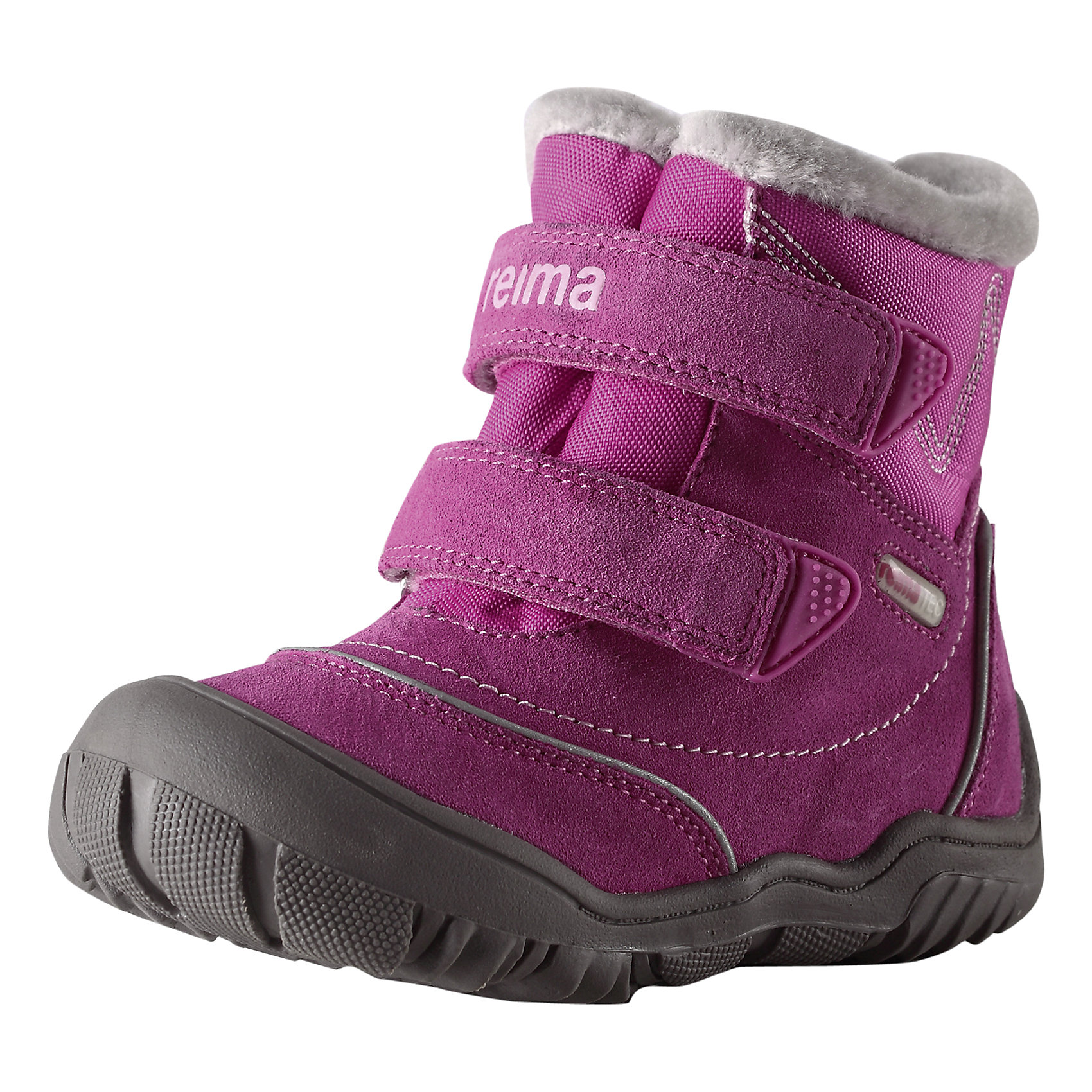 Ботинки Reimatec для девочки ReimaПоднимем себе настроение в пасмурное время года! В этих спортивных зимних ботинках для детей двигаться вперёд очень легко! Края подошвы подогнуты вверх и закрывают область пальцев, чтобы защитить ботинки от ударов и царапин. Благодаря водонепроницаемой подкладке ребёнок может долго играть на улице даже в мокрую погоду, а стельки из фетра и текстильный мех обеспечивают дополнительное тепло в морозы. Стельки вынимаются, на стельках удобный рисунок Happy Fit, который помогает правильно определить размер и измерить быстро растущую ножку ребёнка. Обратите внимание на забавную светоотражающую деталь на заднике - незаменима для безопасности в темноте.<br><br>Дополнительная информация:<br><br>Температурный режим: до -20<br>Средняя степень утепления<br>Водонепроницаемые зимние ботинки Reimatec® для малышей на подкладке из текстильного меха<br>Верх из натуральной замши и текстиля<br>Разработано для нормального роста детских ножек<br>Чашеобразная форма подошвы из термопластичного каучука защищает область пальцев<br>Стельки вынимаются, рисунок Happy Fit помогает правильно определить размер ноги<br>Светоотражающие детали для дополнительной безопасности<br>Состав: Подошва: термопластичная резина, Верх: 70% Кожа 30% Полиэстер<br><br>Ботинки Reimatec Reima (Рейматек Рейма) можно купить в нашем магазине.<br><br>Ширина мм: 262<br>Глубина мм: 176<br>Высота мм: 97<br>Вес г: 427<br>Цвет: розовый<br>Возраст от месяцев: 12<br>Возраст до месяцев: 15<br>Пол: Женский<br>Возраст: Детский<br>Размер: 21,23,22,24,25,26,20<br>SKU: 4385281