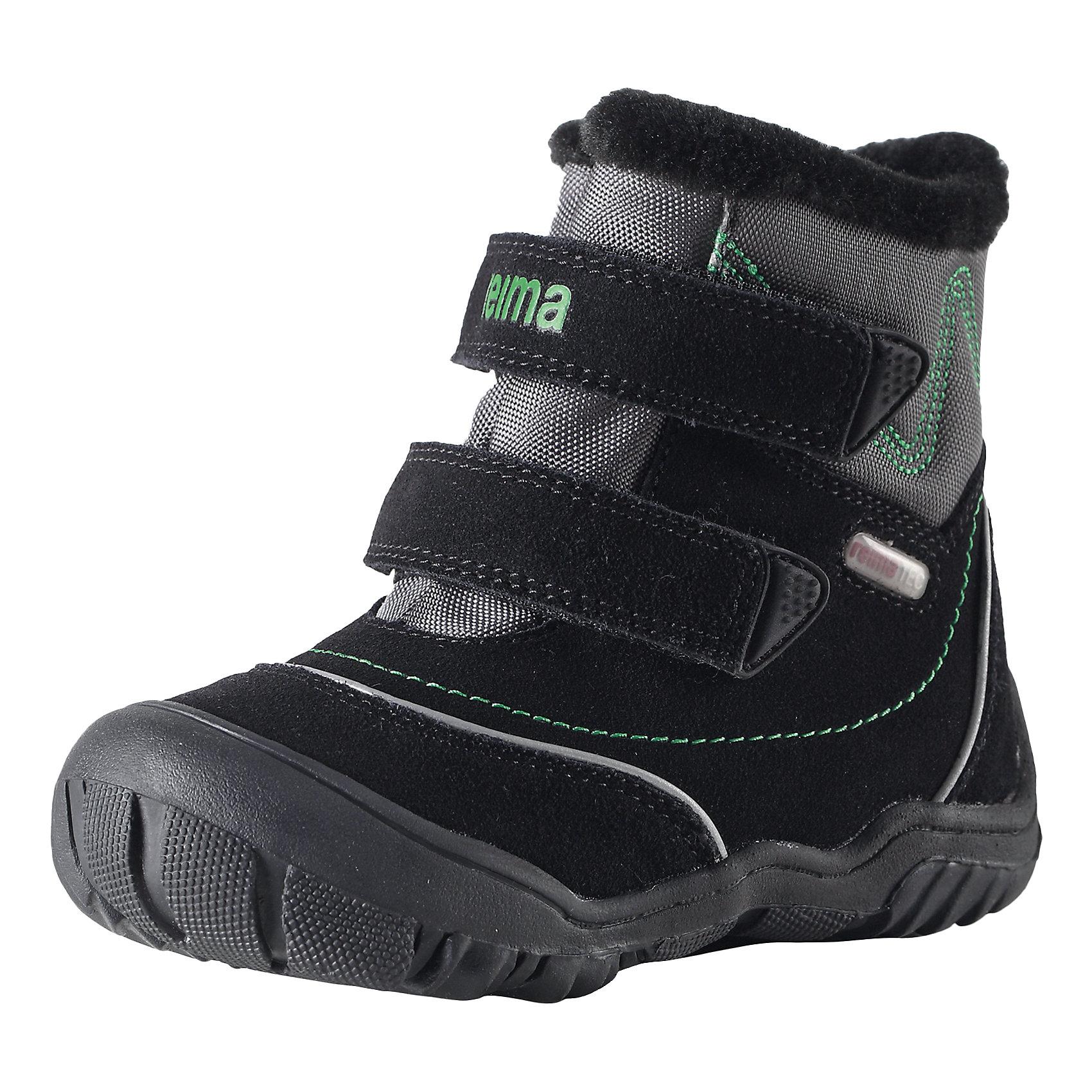 Ботинки Reimatec ReimaПоднимем себе настроение в пасмурное время года! В этих спортивных зимних ботинках для детей двигаться вперёд очень легко! Края подошвы подогнуты вверх и закрывают область пальцев, чтобы защитить ботинки от ударов и царапин. Благодаря водонепроницаемой подкладке ребёнок может долго играть на улице даже в мокрую погоду, а стельки из фетра и текстильный мех обеспечивают дополнительное тепло в морозы. Стельки вынимаются, на стельках удобный рисунок Happy Fit, который помогает правильно определить размер и измерить быстро растущую ножку ребёнка. Обратите внимание на забавную светоотражающую деталь на заднике - незаменима для безопасности в темноте.<br><br>Дополнительная информация:<br><br>Температурный режим: до -20<br>Средняя степень утепления<br>Водонепроницаемые зимние ботинки Reimatec® для малышей на подкладке из текстильного меха<br>Верх из натуральной замши и текстиля<br>Разработано для нормального роста детских ножек<br>Чашеобразная форма подошвы из термопластичного каучука защищает область пальцев<br>Стельки вынимаются, рисунок Happy Fit помогает правильно определить размер ноги<br>Светоотражающие детали для дополнительной безопасности<br>Состав: Подошва: термопластичная резина, Верх: 70% Кожа 30% Полиэстер<br><br>Ботинки Reimatec Reima (Рейматек Рейма) можно купить в нашем магазине.<br><br>Ширина мм: 262<br>Глубина мм: 176<br>Высота мм: 97<br>Вес г: 427<br>Цвет: черный<br>Возраст от месяцев: 9<br>Возраст до месяцев: 12<br>Пол: Унисекс<br>Возраст: Детский<br>Размер: 20,24,25,26,23,22,21<br>SKU: 4385283