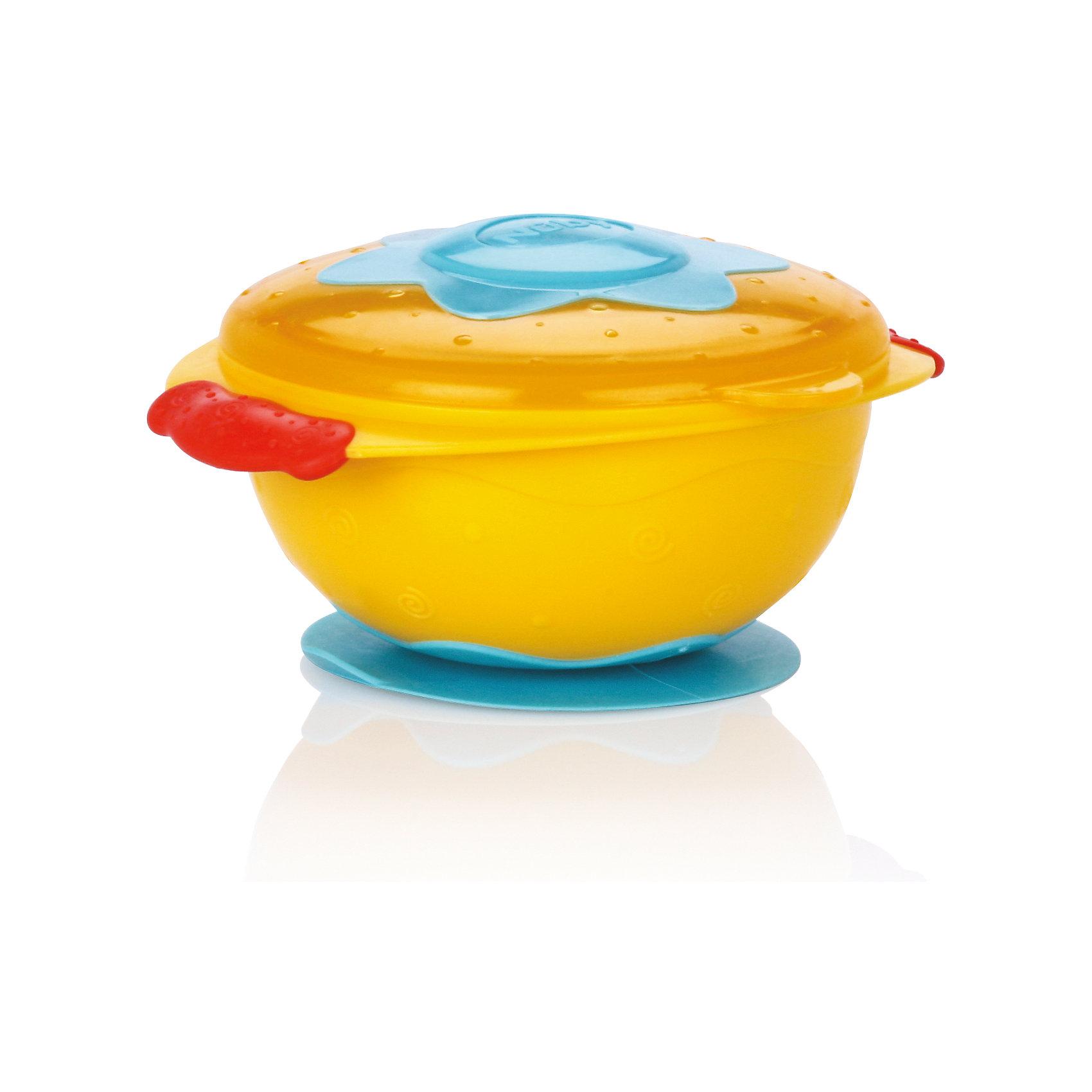 Тарелка на присоске для СВЧ, Nuby, желтыйТарелки<br>Тарелка на присоске Nuby для микроволновой печи. <br>Процесс кормления ребенка должен быть легким для мамы и интересным для малыша. Именно эту задачу выполняет серия «Улёт! посуда». Тарелка изготовлена из прочного небьющегося пластика и подходит для ежедневного кормления ребенка. Ее удобно использовать во время путешествий или прогулок. Такую тарелку легко держать как левой, так и правой рукой. <br>Она достаточно глубокая и подходит для хранения любого вида пищи. Плотная крышка надежно закрывается и не допускает протекания или вытекания содержимого. Вы можете выбирать и комбинировать предметы серии «Улёт! посуда» по своему вкусу. <br>Тарелку на присоске Nuby для микроволновой печи можно купить в нашем интернет магазине.<br><br>Ширина мм: 159<br>Глубина мм: 223<br>Высота мм: 132<br>Вес г: 136<br>Цвет: желтый<br>Возраст от месяцев: 9<br>Возраст до месяцев: 24<br>Пол: Унисекс<br>Возраст: Детский<br>SKU: 4385874
