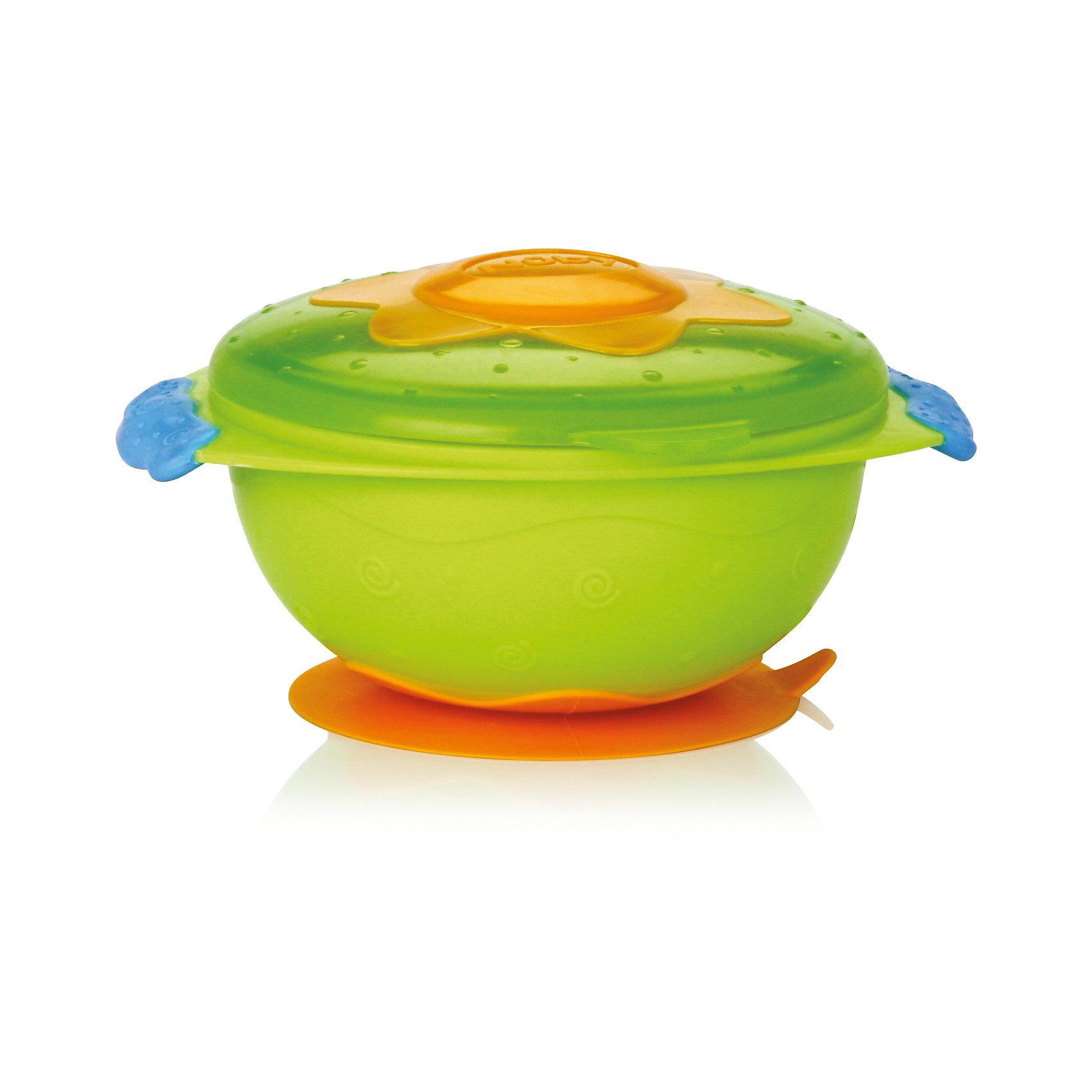 Тарелка на присоске для СВЧ, Nuby, зеленыйТарелки<br>Тарелка на присоске Nuby для микроволновой печи. <br>Процесс кормления ребенка должен быть легким для мамы и интересным для малыша. Именно эту задачу выполняет серия «Улёт! посуда». Тарелка изготовлена из прочного небьющегося пластика и подходит для ежедневного кормления ребенка. Ее удобно использовать во время путешествий или прогулок. Такую тарелку легко держать как левой, так и правой рукой. <br>Она достаточно глубокая и подходит для хранения любого вида пищи. Плотная крышка надежно закрывается и не допускает протекания или вытекания содержимого. Вы можете выбирать и комбинировать предметы серии «Улёт! посуда» по своему вкусу. <br><br>Тарелку на присоске Nuby для микроволновой печи можно купить в нашем интернет магазине.<br><br>Ширина мм: 159<br>Глубина мм: 223<br>Высота мм: 132<br>Вес г: 136<br>Цвет: зеленый<br>Возраст от месяцев: 9<br>Возраст до месяцев: 24<br>Пол: Унисекс<br>Возраст: Детский<br>SKU: 4385876
