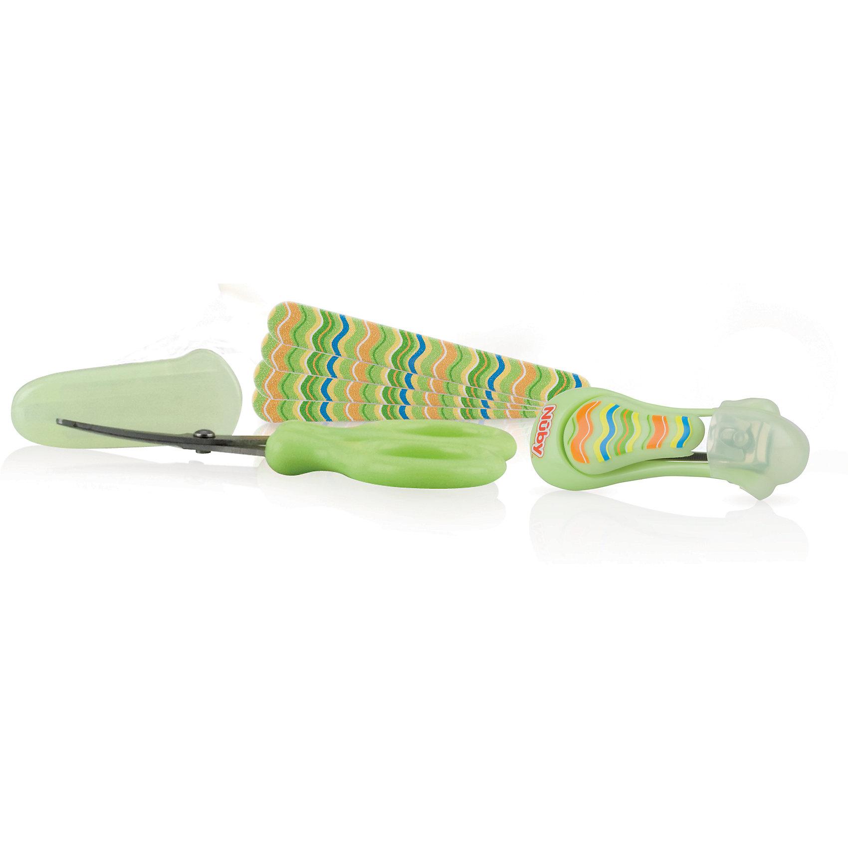 Маникюрный набор Nuby, зеленыйаникюрный набор Nuby (Нуби) - облегчает процедуру ухода за ногтями ребенка каждой заботливой маме. Благодаря тонким лезвиям из металла и закругленным концам, ножницы позволяют стричь маленькие ногти Вашего малыша более аккуратно и безопасно. В комплект входят все инструменты по уходу за ноготками ребенка. Щипчики легко откусывают отросшие ногти. Ножницами можно подправить индивидуальную форму, а пилочка не оставит зазубрин и отшлифует ноготок. С маникюрным набором Nuby (Нуби) ноготочки Вашего крохи всегда будут в порядке!<br><br>Дополнительная информация:<br><br>- В комплекте: ножницы, щипчики, пилочка;<br>- Подходит для детей с рождения;<br>- Материал: полипропилен, нержавеющая сталь;<br>- Необходимо обработать спиртосодержащим средством перед первым использованием;<br>- Изготовлен из современных безопасных материалов;<br>- Размер: 17 х 2 х 10 см;<br>- Вес: 58 г<br><br>Маникюрный набор  Nuby (Нуби)  можно купить в нашем интернет-магазине.<br><br>Ширина мм: 100<br>Глубина мм: 20<br>Высота мм: 170<br>Вес г: 58<br>Цвет: зеленый<br>Возраст от месяцев: 0<br>Возраст до месяцев: 36<br>Пол: Унисекс<br>Возраст: Детский<br>SKU: 4385877