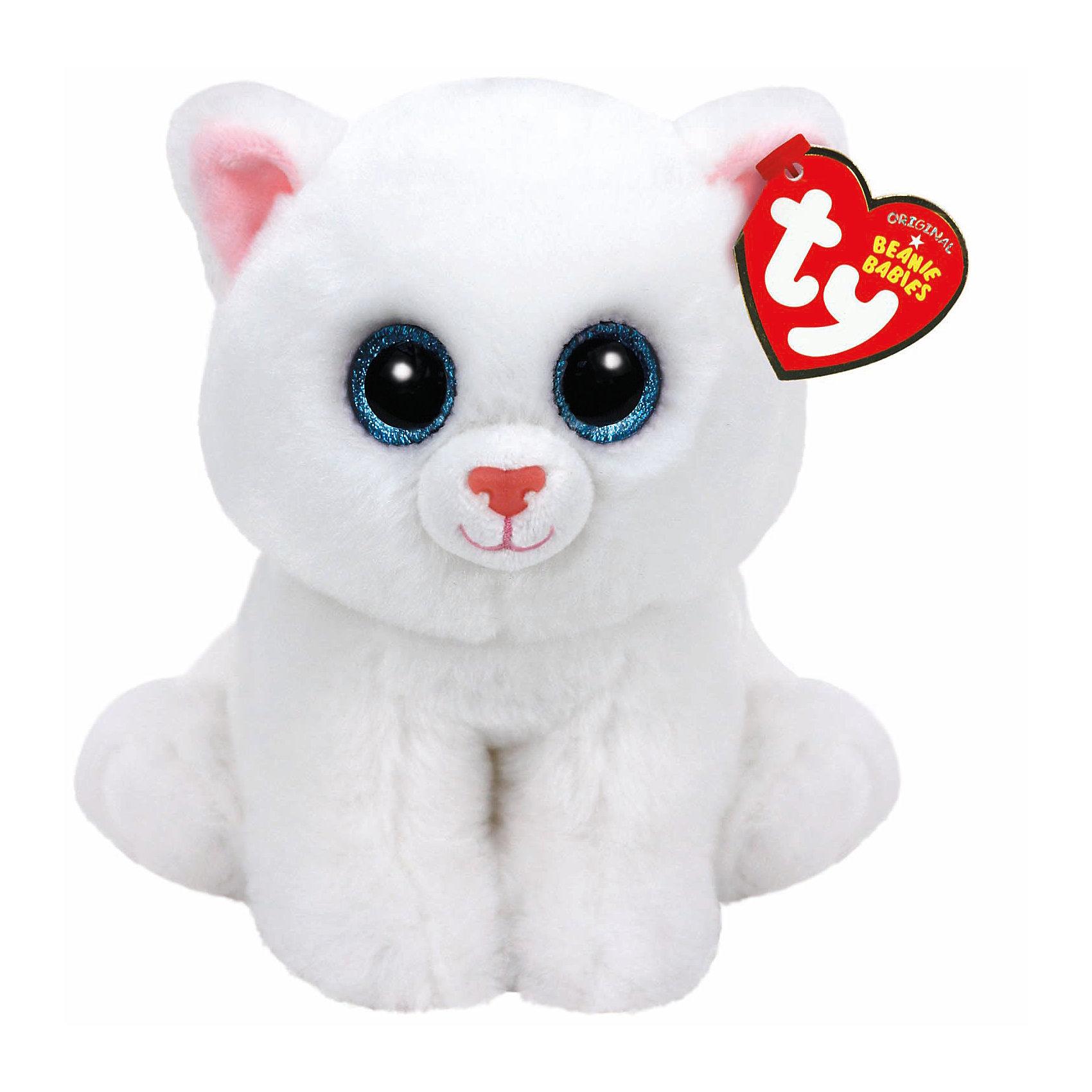 Кошка (белая) Pearl, 15 смКошка (белая) Pearl, 15 см – игрушка от бренда TY Inc (ТАЙ Инкорпорейтед), знаменитого своими мягкими игрушками, в качестве наполнителя для которых используются гранулы. Кошка выполнена из качественного и гипоаллергенного плюша белоснежного цвета. У игрушки большие выразительные глаза. Используемые материалы делают игрушку прочной, устойчивой к изменению цвета и формы, ее разрешается стирать.<br>Кошка (белая) Pearl, 15 см TY Inc непременно станет любимой игрушкой для вашего ребенка, а уникальный наполнитель будет способствовать  не  только развитию мелкой моторики пальцев, но и оказывать релаксирующее воздействие. <br><br>Дополнительная информация:<br><br>- Вид игр: сюжетно-ролевые игры, интерьерные игрушки, для коллекционирования<br>- Предназначение: для дома<br>- Материал: плюш, наполнитель ? гранулы<br>- Высота: 15 см<br>- Особенности ухода: разрешается стирка<br><br>Подробнее:<br><br>• Для детей в возрасте: от 12 месяцев и до 5 лет <br>• Страна производитель: Китай<br>• Торговый бренд: TY Inc <br><br>Кошку (белую) Pearl, 15 см можно купить в нашем интернет-магазине.<br><br>Ширина мм: 152<br>Глубина мм: 112<br>Высота мм: 90<br>Вес г: 98<br>Возраст от месяцев: 12<br>Возраст до месяцев: 60<br>Пол: Унисекс<br>Возраст: Детский<br>SKU: 4386726
