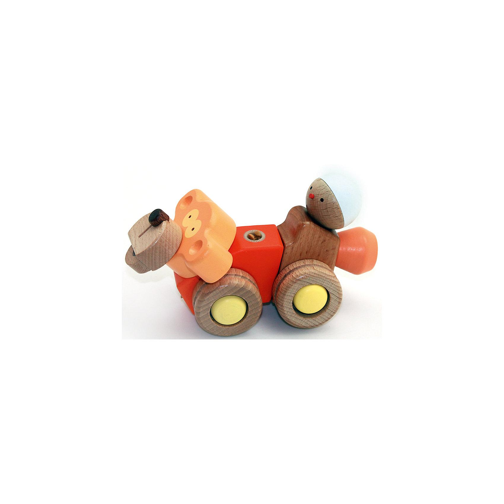 Деревянная игрушка Обезьяна, EQBМир животных<br>Деревянная игрушка Обезьяна, EQB – это деревянный конструктор, предназначенный для раннего развития малыша.<br>Конструктор EQB включает 12 крупных деревянных элементов, с помощью которых ребенок легко сможет собрать игрушку в виде обезьянки, и 2 элемента для сборки фигурки в виде человечка. Обезьянка оснащена четырьмя колесиками, благодаря чему малыш сможет катать игрушку. Фигурку в виде человечка можно закрепить на спине обезьяны. Главная особенность конструктора - оригинальное крепление clicknturn 360. Это крепление позволяет легко соединять детали и вращать их на 360 градусов. Детали изготовлены из твердых пород древесины, окрашены натуральными красителями вручную и обработаны растительными маслами для создания ровной и гладкой поверхности. Конструктор полностью безопасен для детей. Тренирует усидчивость, мелкую моторику руку и развивает навыки конструирования с раннего детства. В комплект входит текстильный мешочек, затягивающийся сверху на кулиску, в котором удобно хранить конструктор.<br><br>Дополнительная информация:<br><br>- В наборе: 14 деталей, мешочек, инструкция<br>- Размер готовой игрушки: 7,5 х 17 х 11,5 см.<br>- Материал: древесина<br>- Размер упаковки: 10 x 19,5 x 8,5 см.<br>- Вес: 280 гр.<br><br>Деревянную игрушку Обезьяна, EQB можно купить в нашем интернет-магазине.<br><br>Ширина мм: 100<br>Глубина мм: 195<br>Высота мм: 85<br>Вес г: 280<br>Возраст от месяцев: 36<br>Возраст до месяцев: 96<br>Пол: Унисекс<br>Возраст: Детский<br>SKU: 4387469