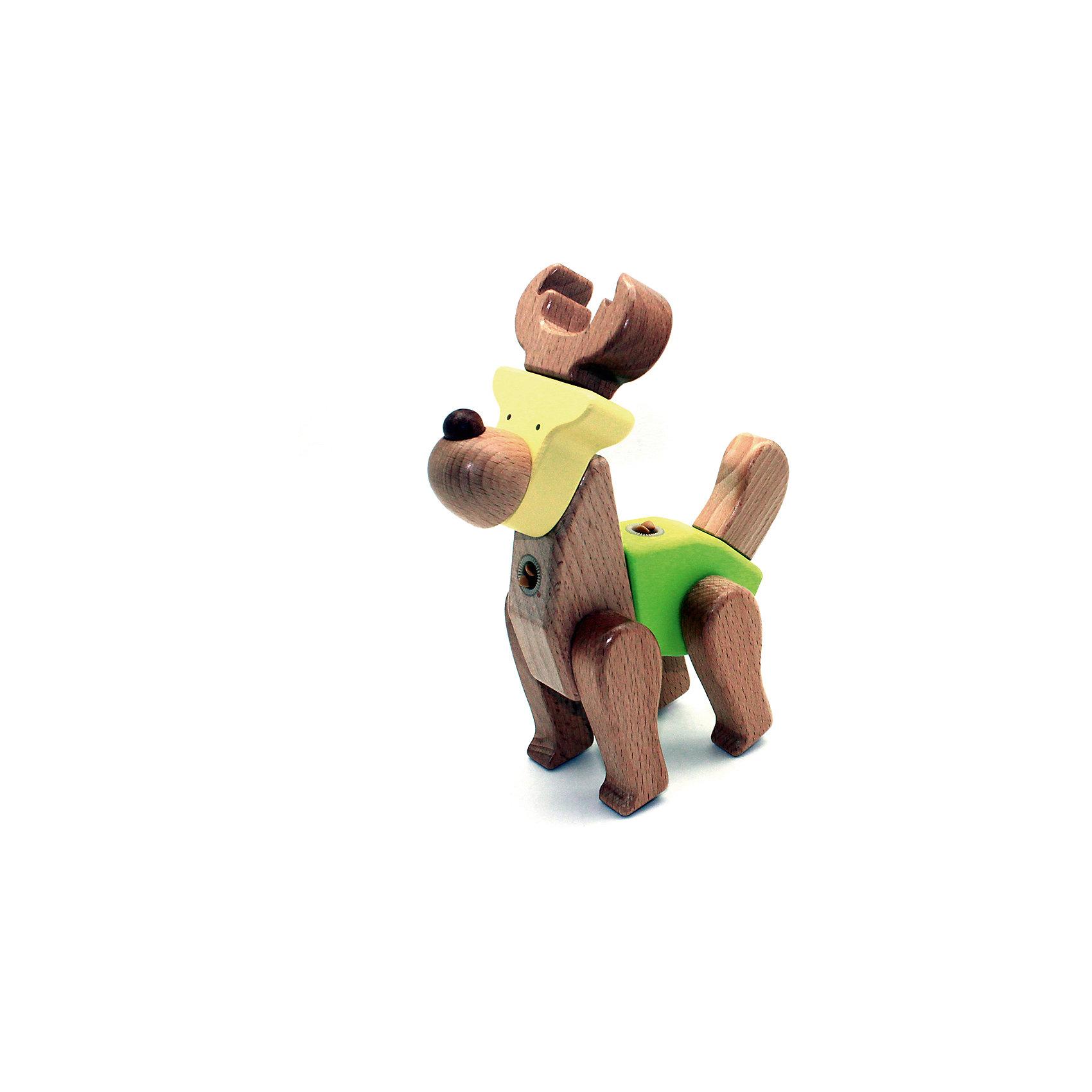 Деревянная игрушка Олень, EQBДеревянная игрушка Олень, EQB – это деревянный конструктор, предназначенный для раннего развития малыша.<br>Конструктор EQB включает 10 крупных деревянных элементов, с помощью которых ребенок легко сможет собрать игрушку в виде Оленя с подвижными конечностями. Главная особенность конструктора - оригинальное крепление clicknturn 360. Это крепление позволяет легко соединять детали и вращать их на 360 градусов. Детали изготовлены из твердых пород древесины, окрашены натуральными красителями, вручную и обработаны растительными маслами для создания ровной и гладкой поверхности. Конструктор полностью безопасен для детей. Тренирует усидчивость, мелкую моторику руку и развивает навыки конструирования с раннего детства. В комплект входит текстильный мешочек, затягивающийся сверху на кулиску, в котором удобно хранить конструктор.<br><br>Дополнительная информация:<br><br>- В наборе: 10 деталей, мешочек, инструкция<br>- Материал: древесина<br>- Размер готовой игрушки: 6,5 х 19 х 17 см.<br>- Размер упаковки: 10 x 19,5 x 8,5 см.<br>- Вес: 290 гр.<br><br>Деревянную игрушку Олень, EQB можно купить в нашем интернет-магазине.<br><br>Ширина мм: 100<br>Глубина мм: 195<br>Высота мм: 85<br>Вес г: 290<br>Возраст от месяцев: 36<br>Возраст до месяцев: 96<br>Пол: Унисекс<br>Возраст: Детский<br>SKU: 4387473